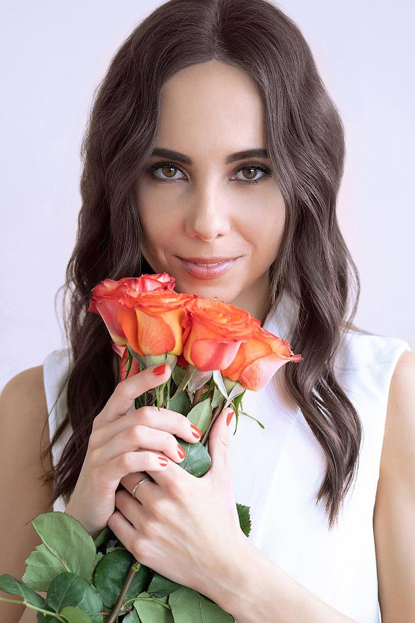 девушка, розы, портрет, молодая, цветы, красивая, Комарова Дарья