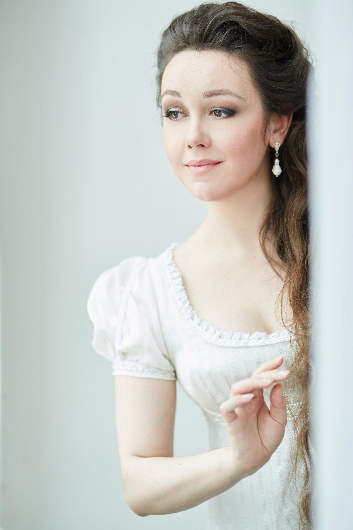 девушка, красивая, 19 век, история, историческая реконструкция, платье, образ, белый, Комарова Дарья