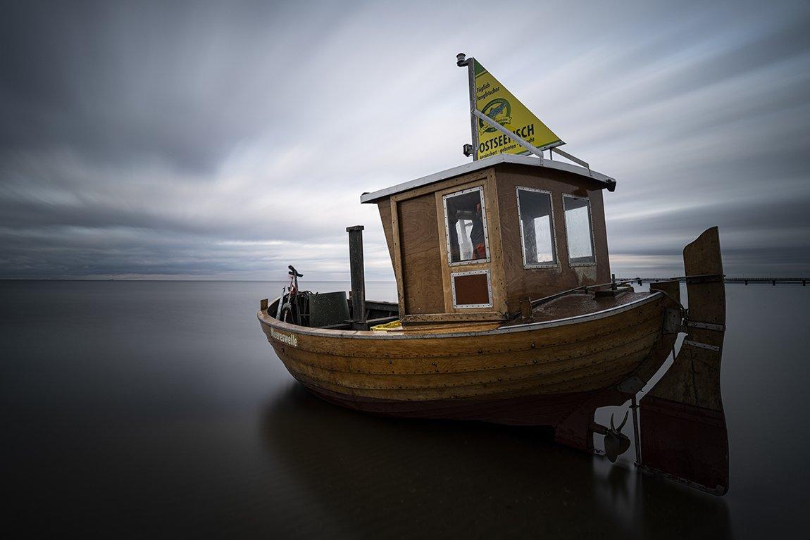 fishing boat, sea, sky, clouds, long exposure, Tichý Ondřej
