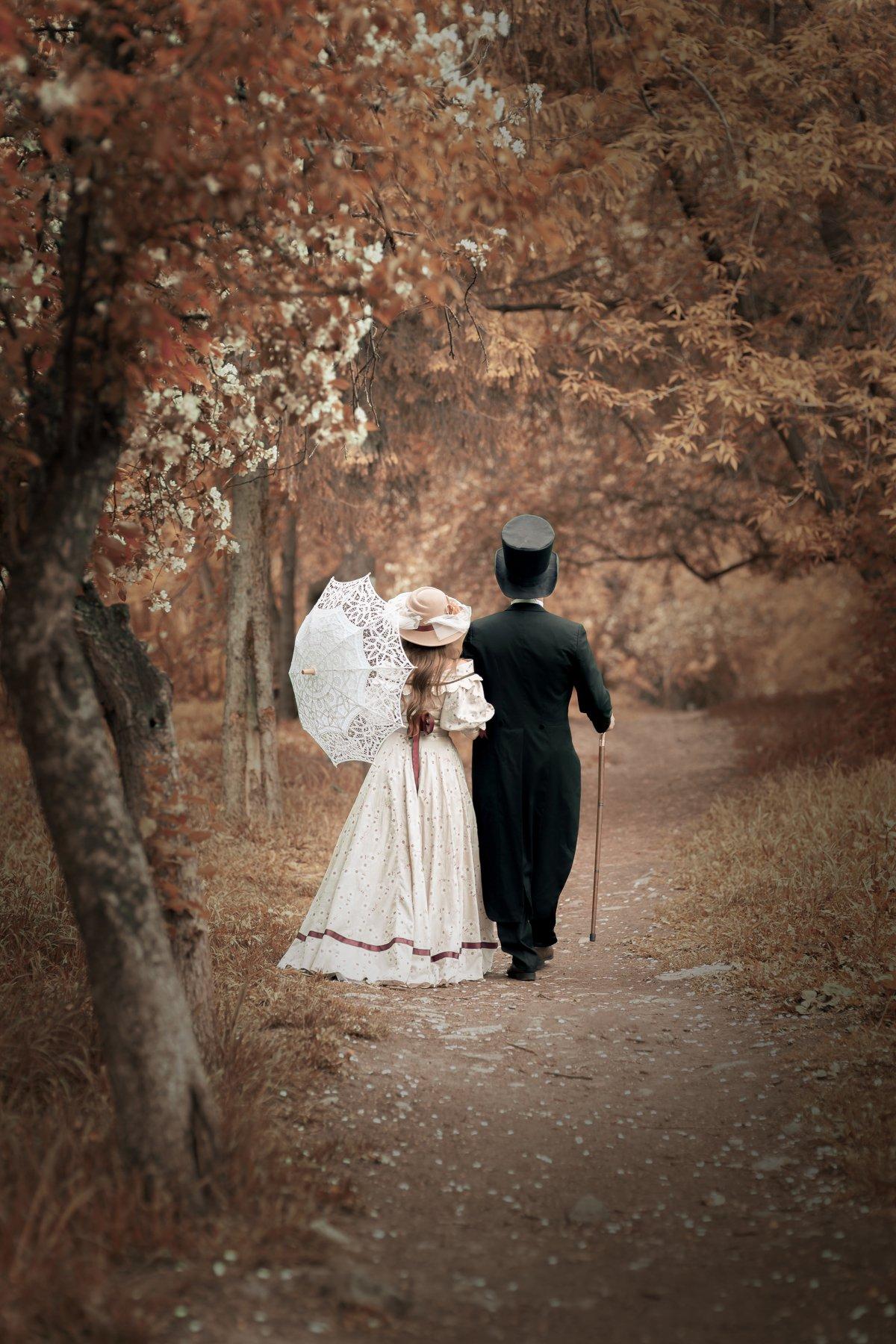 девушка, мужчина, парк, 19 век, постановка, костюм, платье, зонтик, историческая, история, чехов, любвоь , Комарова Дарья