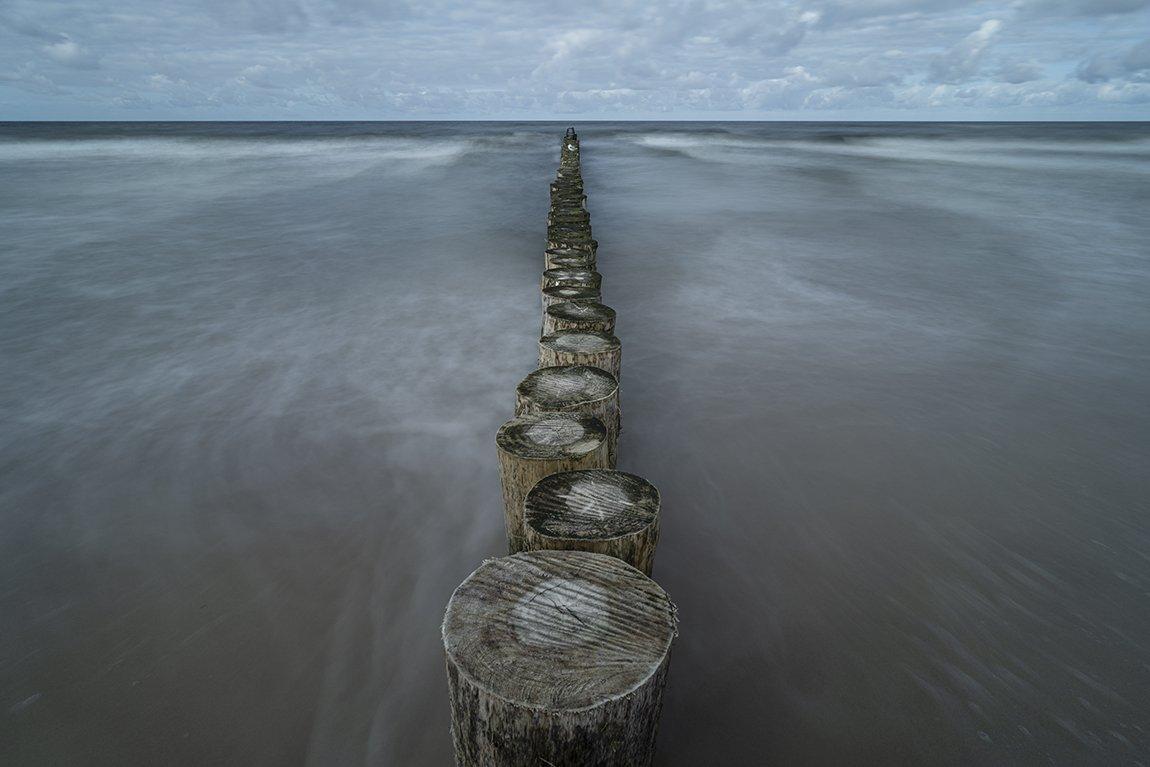 breakwater, sea, sky, clouds, long exposure, Tichý Ondřej