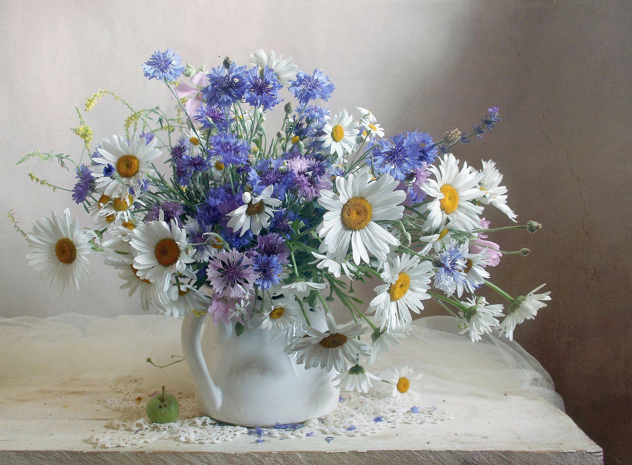 лето,  цветы,васильки, ромашки, натюрморт, марина филатова, Филатова Марина