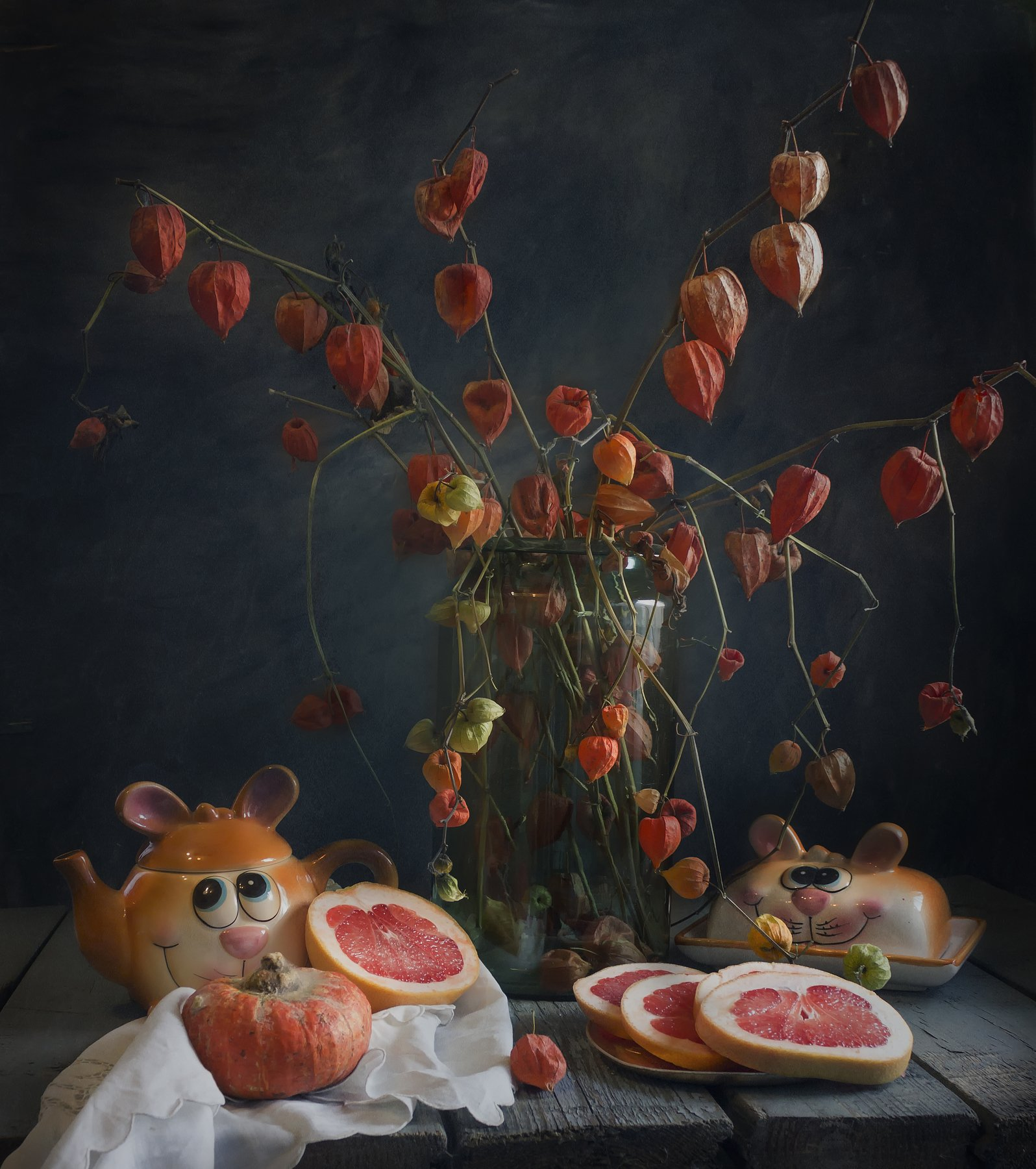 физалис, грейпфрут, оранжевые, чайник,натюрморт, Зимина Лионелла