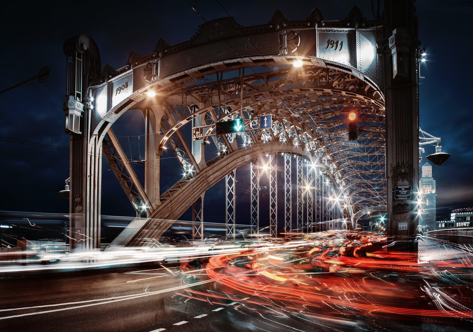 город,река,мост,вечер,закат,движение,фонари,свет, Тамара
