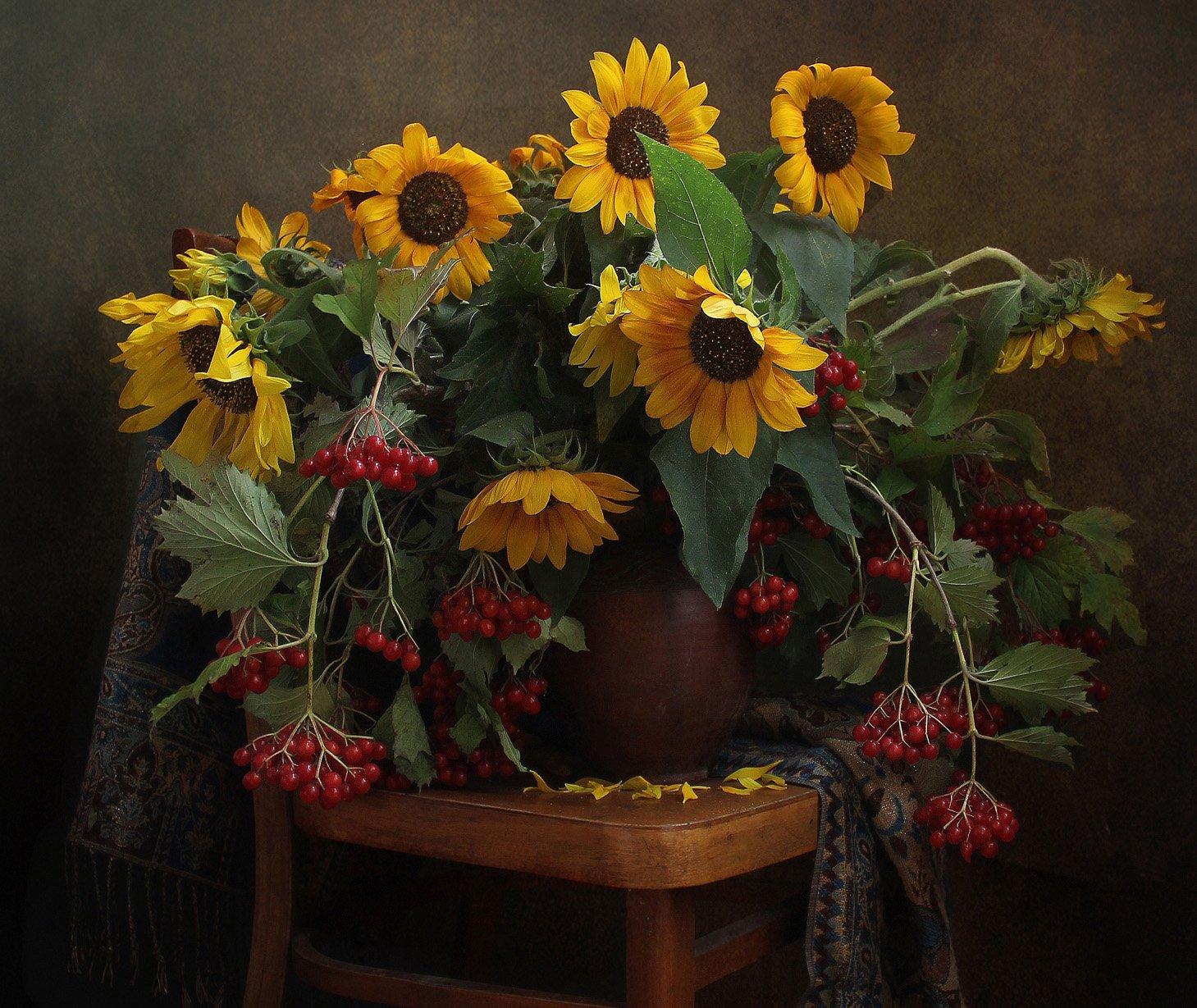 осень,  цветы, калина, подсолнухи, натюрморт, марина филатова, Филатова Марина