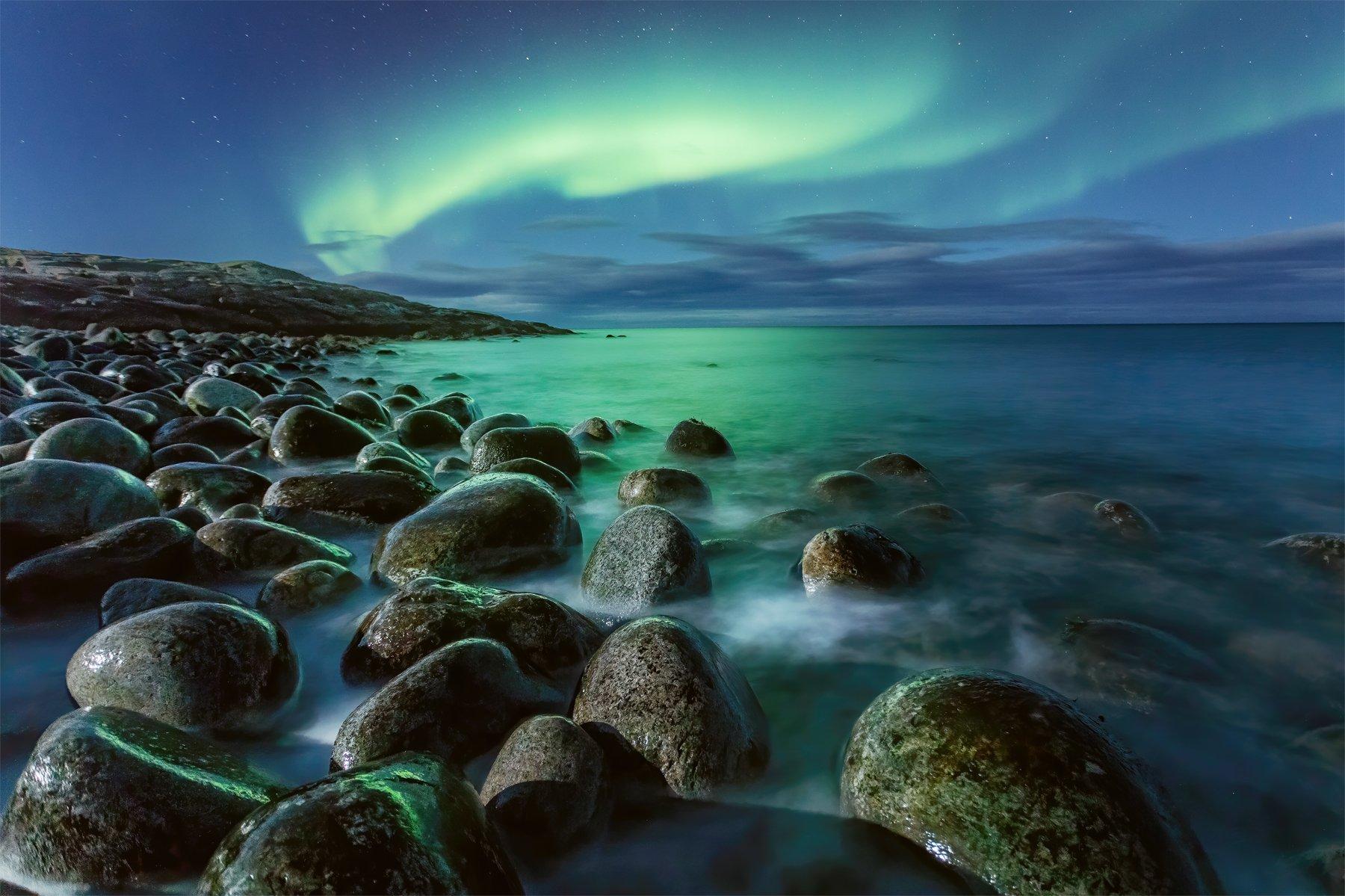 северное сияние, териберка, ночная съемка, пейзаж, Проскалов Михаил