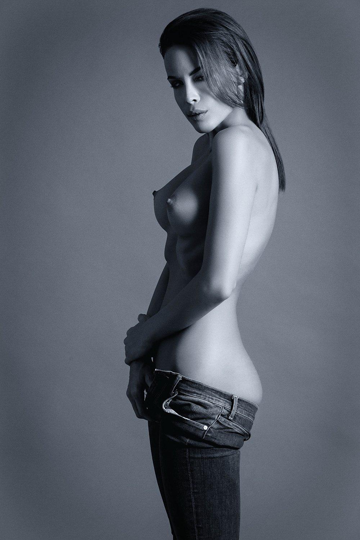 model, fine art,nude, naked, sexy, sensual, monochrome, woman, female, body, erotica, glamour, curves, portrait, beautiful, fashion, jeans,, Lajos Csáki