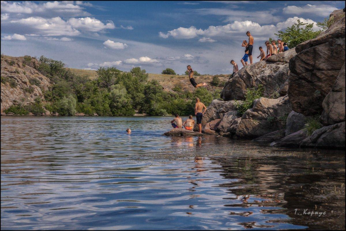 река,пацаны,отдых,каникулы,лето,прыжок,купание, Корнус Татьяна