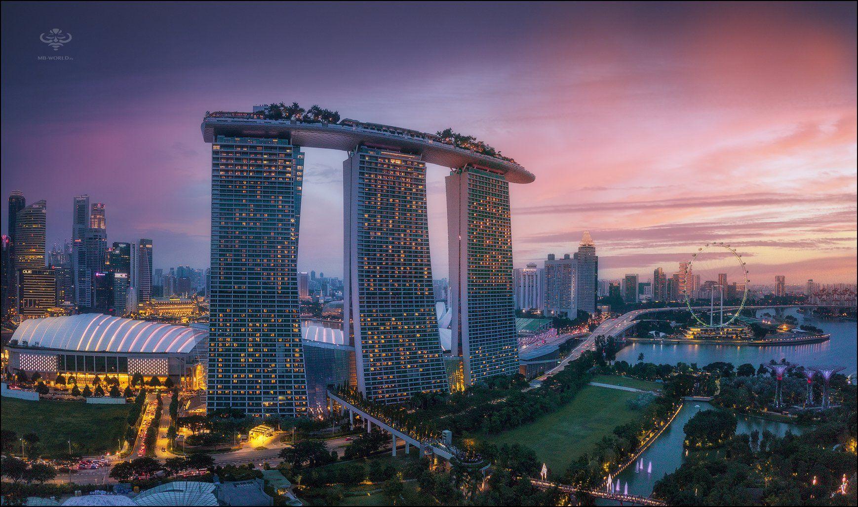 Сингапур, город, закат, , Mikhail Vorobyev