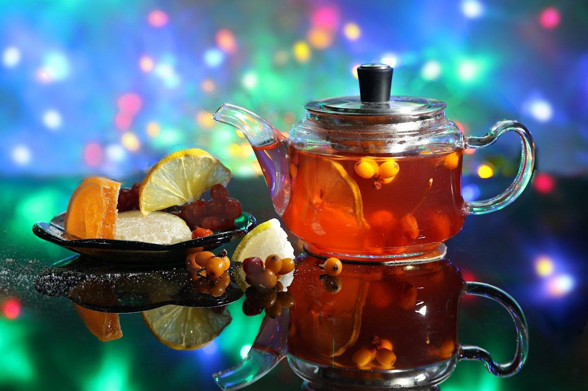 натюрморт, чай, праздник, новый год, огоньки, Шруб (Беляева) Татьяна