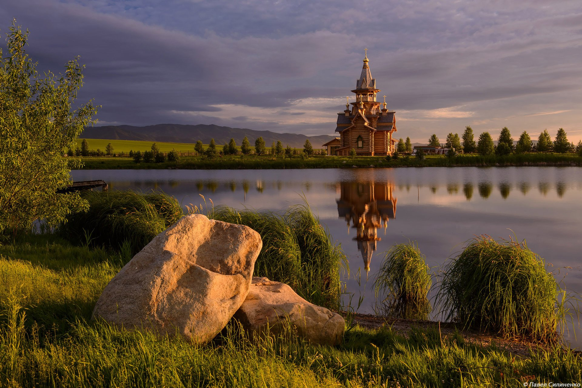 пейзаж, озеро, закат, храм, алтай, лето, свет, Павел Силиненко