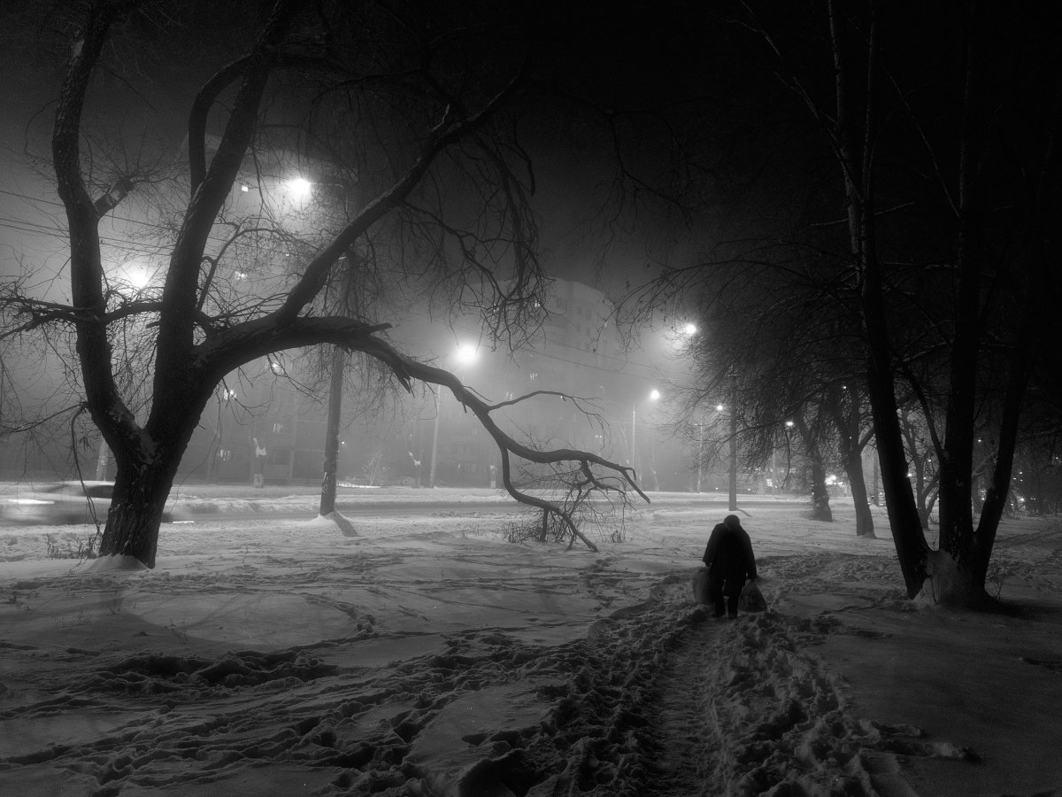 зима, вечер. снег, улица, фонари, самара, Андрей Ларионов