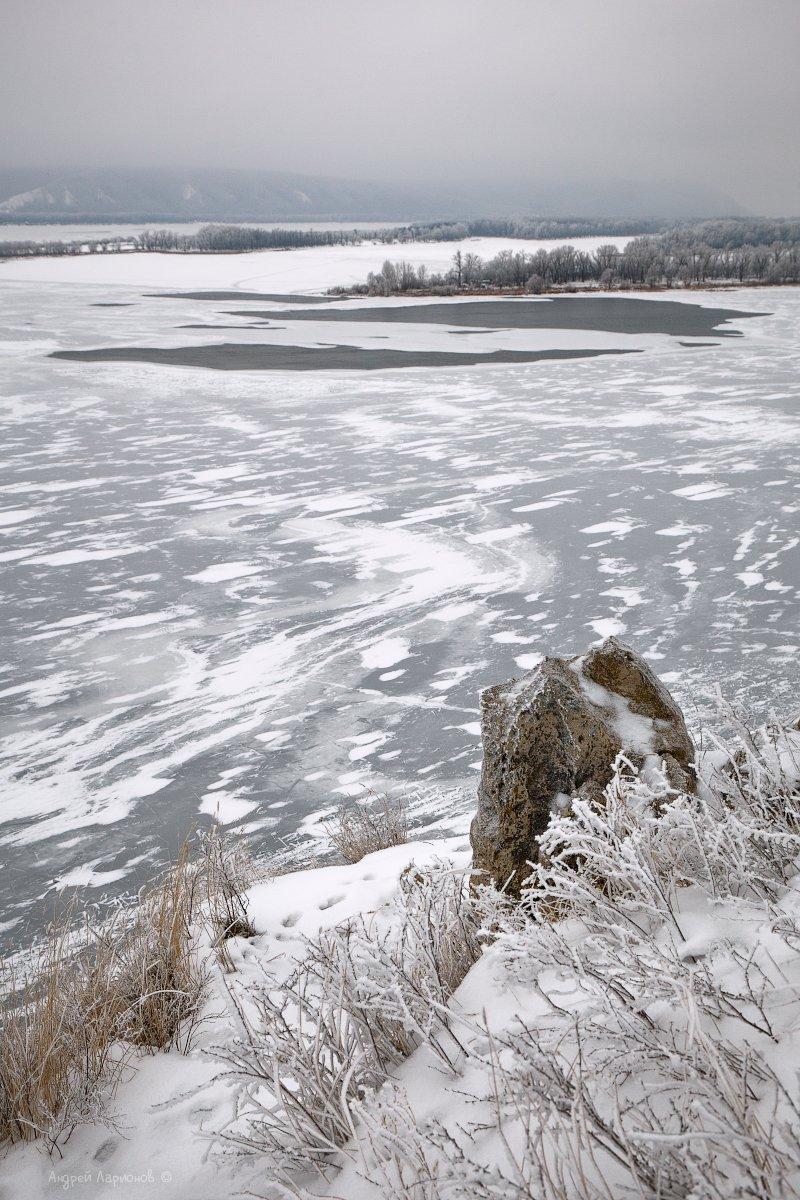 зима, пейзаж, лед, река, гора, полынья, Андрей Ларионов