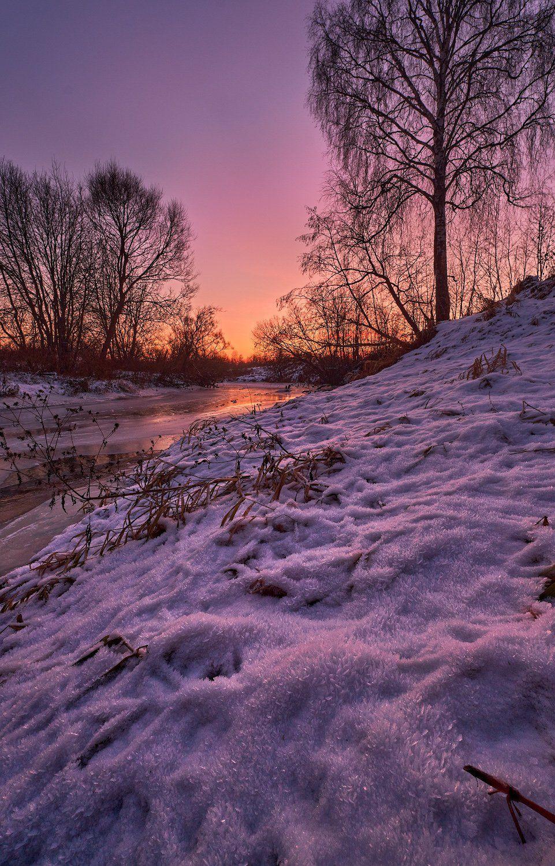 зима,река,моороз,закат,перья,иней,берег,природа,подмосковье,сумерки, Горшков Игорь