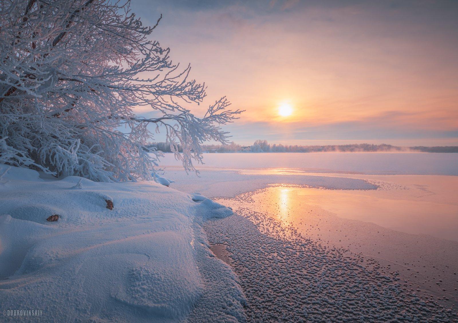 мороз, озеро, иней, рассвет, шатура, Дубровинский Михаил