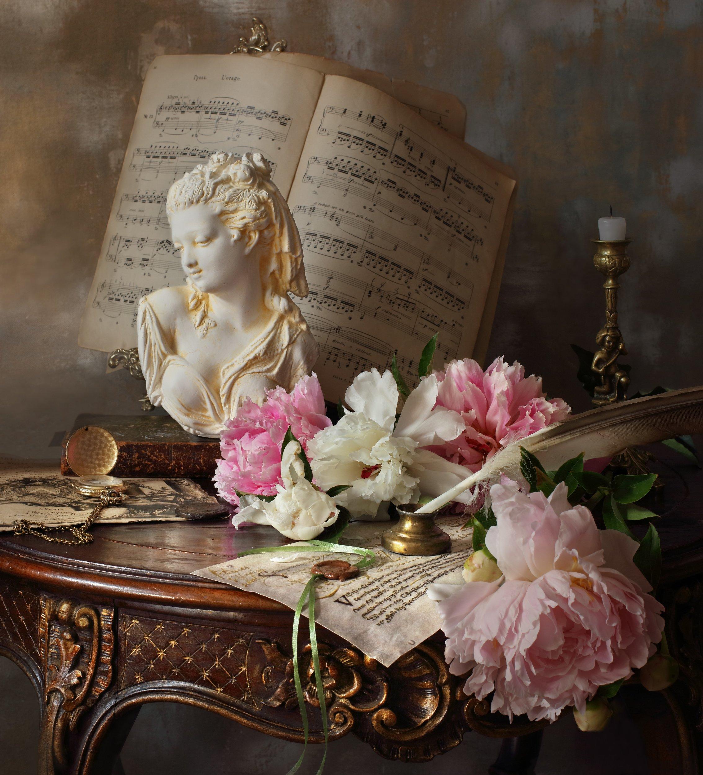 цветы, пионы, свеча, девушка, бюст, скульптура, Морозов Андрей