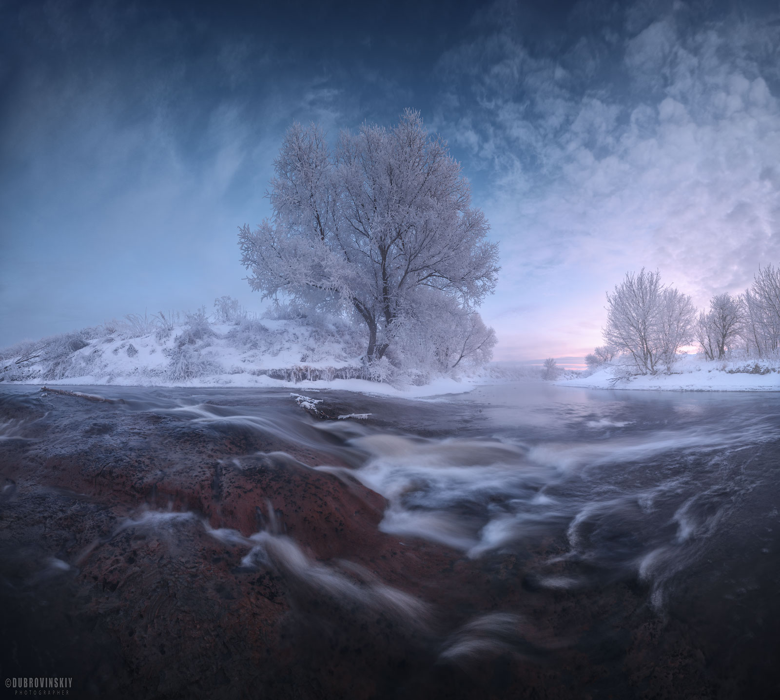 река, дерево, перекат, мороз, иней, рассвет, подмосковье, Дубровинский Михаил