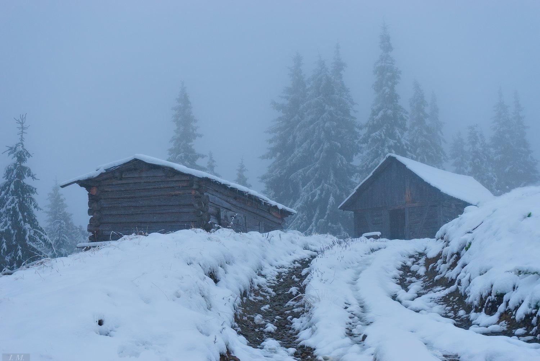 горы, Карпаты, лед, пейзаж, полонына, снег, туман, утро, холод, Черногора, frozen, ice, Carpathians, колыбы, foggy, pine trees, huts, morning, mountains, misty, cold, fog, Ivan Maljarenko
