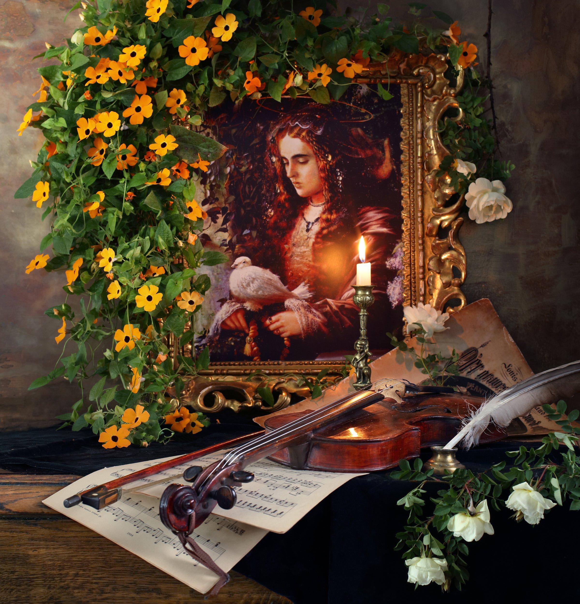 цветы, тунбергия, розы, скрипка, музыка, свеча, девушка, картина, Морозов Андрей