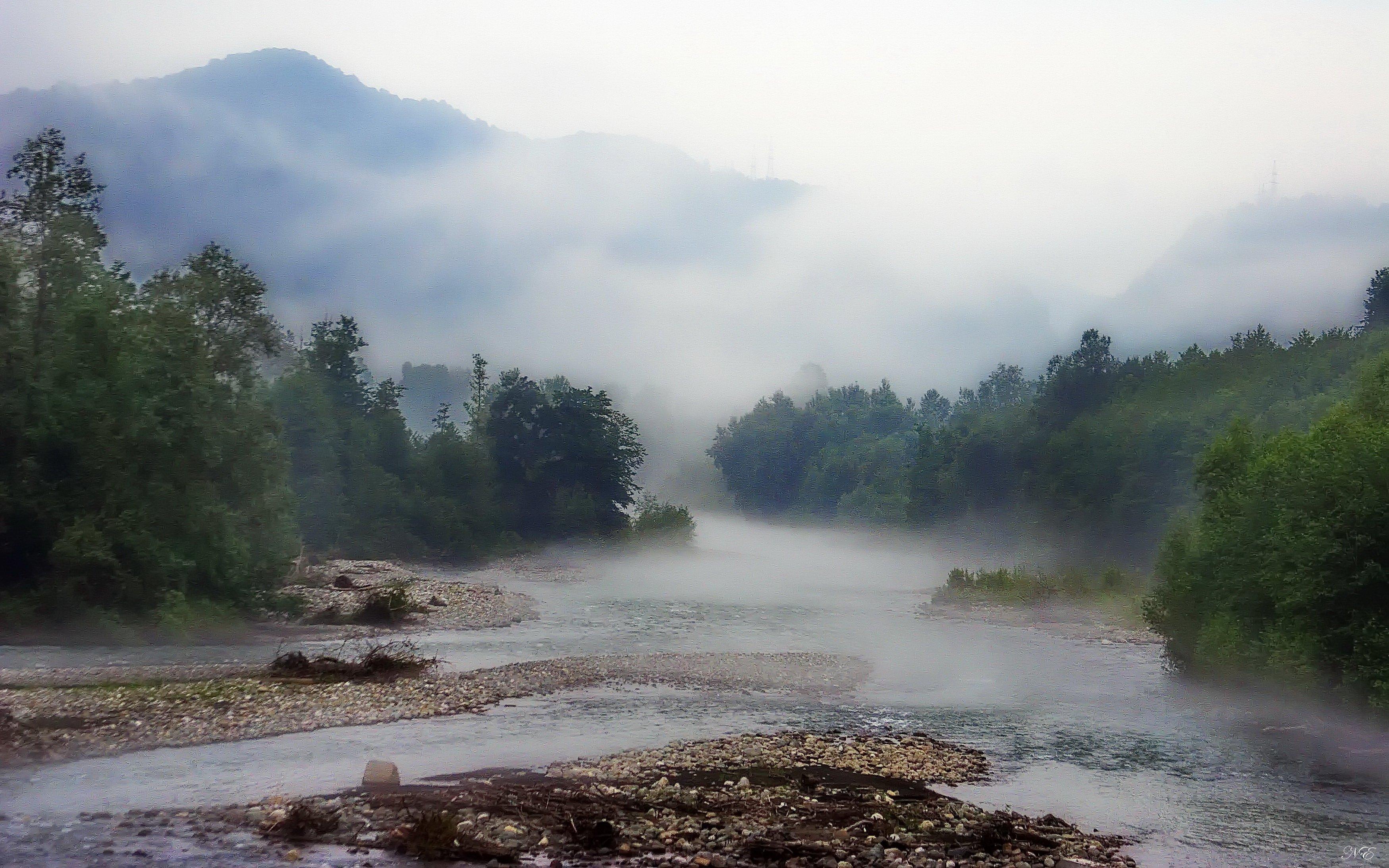 горы река туман, Никишин Евгений