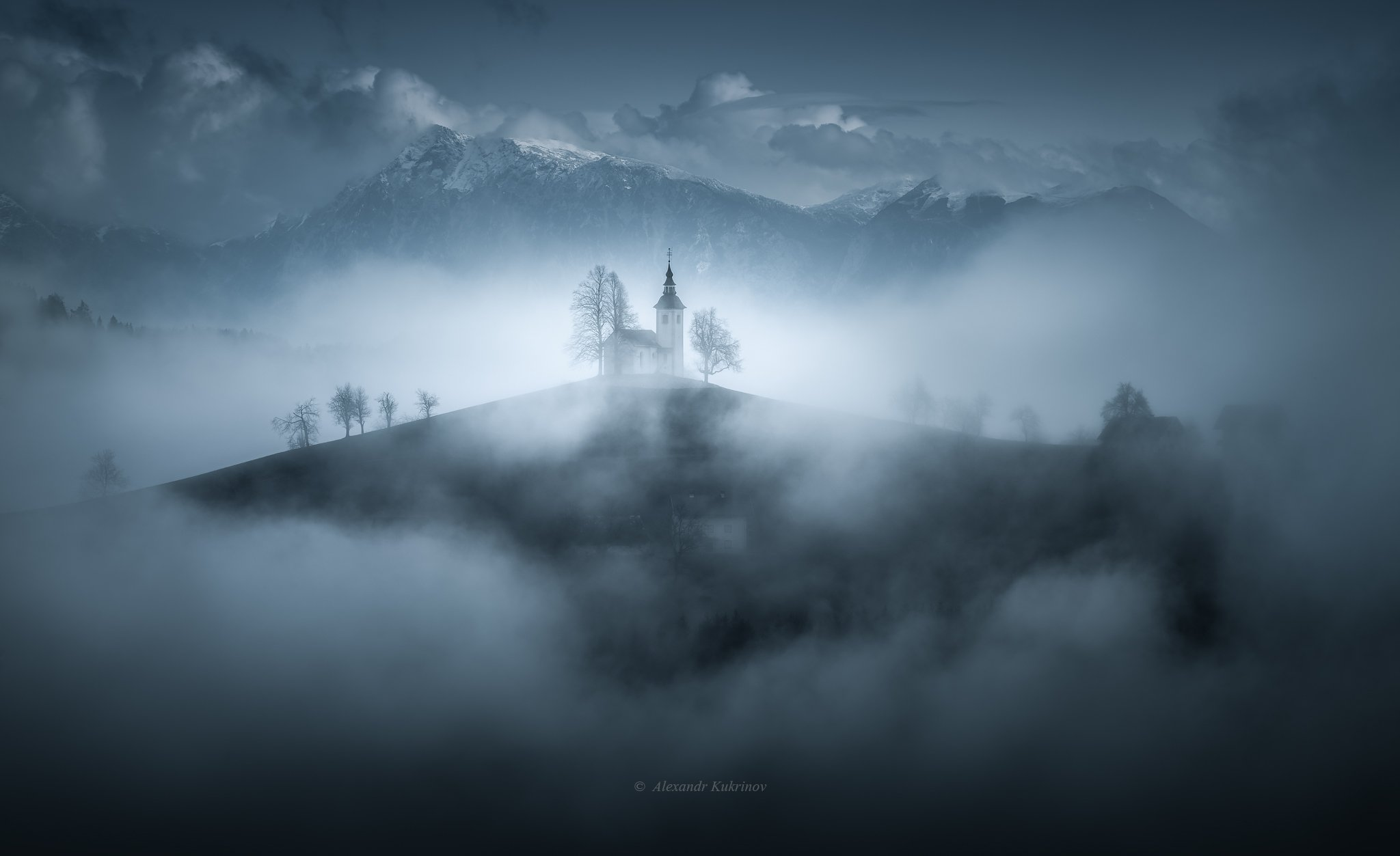 словения, осень, туман, пейзаж, утро, Александр Кукринов