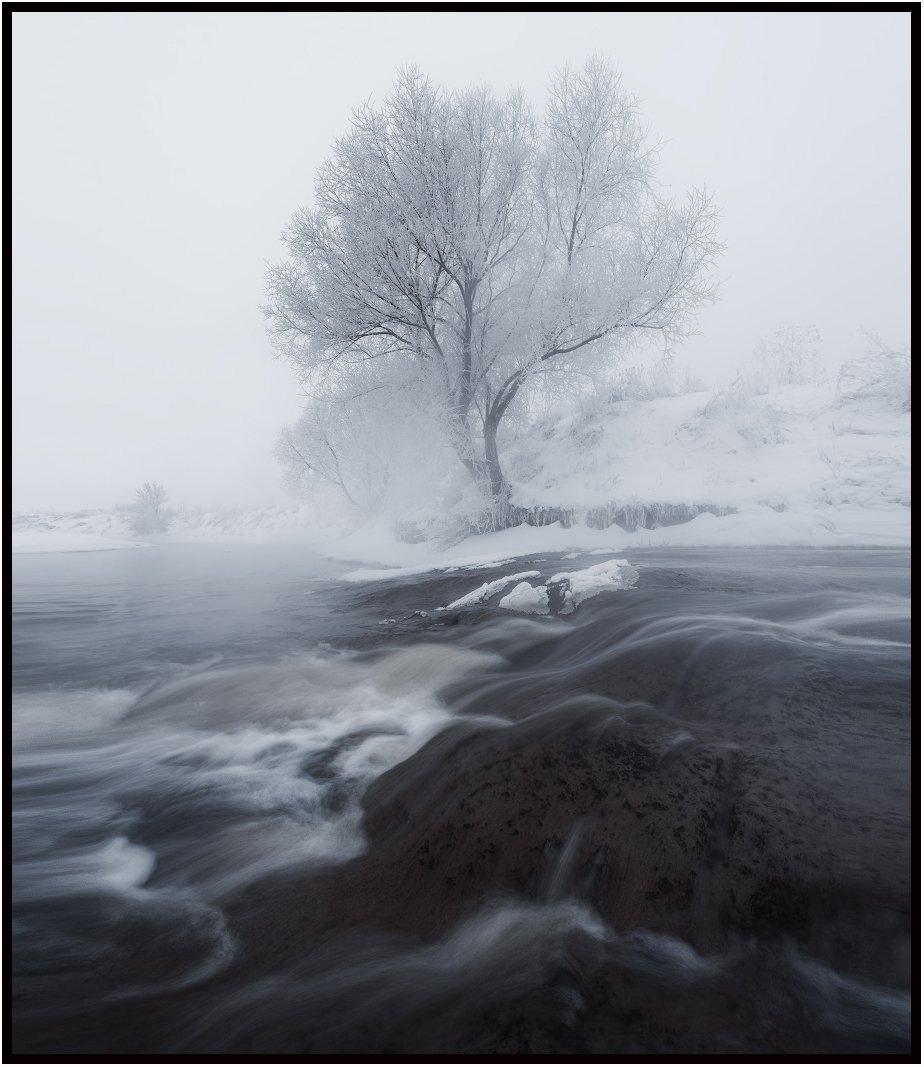 зима, река, утро, пейзаж, Левыкин Виталий