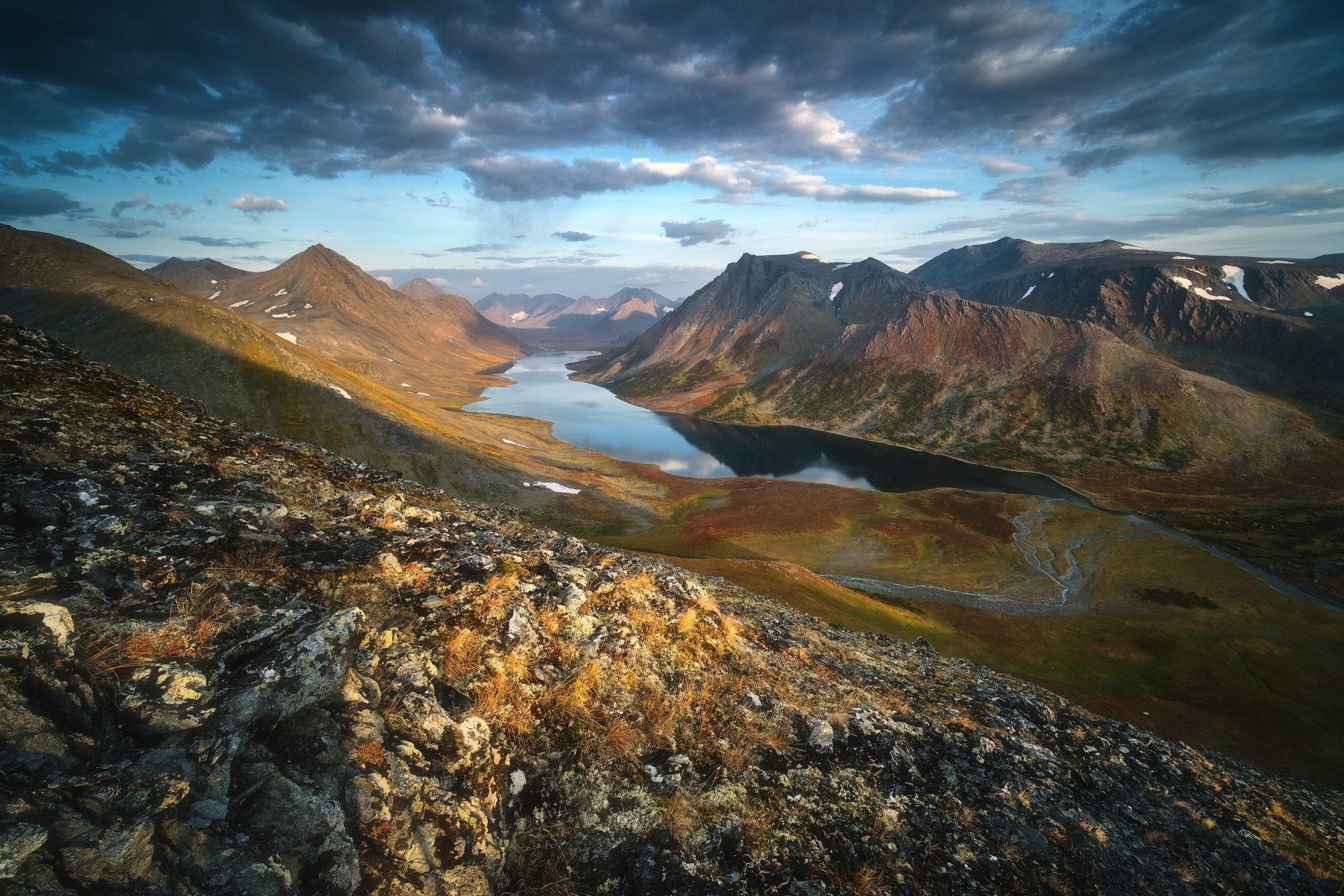 россия, урал, полярный урал, ямао, ямало-ненецкий автономный округ, салехард, горы, осень, природа, пейзаж, рассвет, отражение, озеро, тундра, лесотундра, Оборотов Алексей