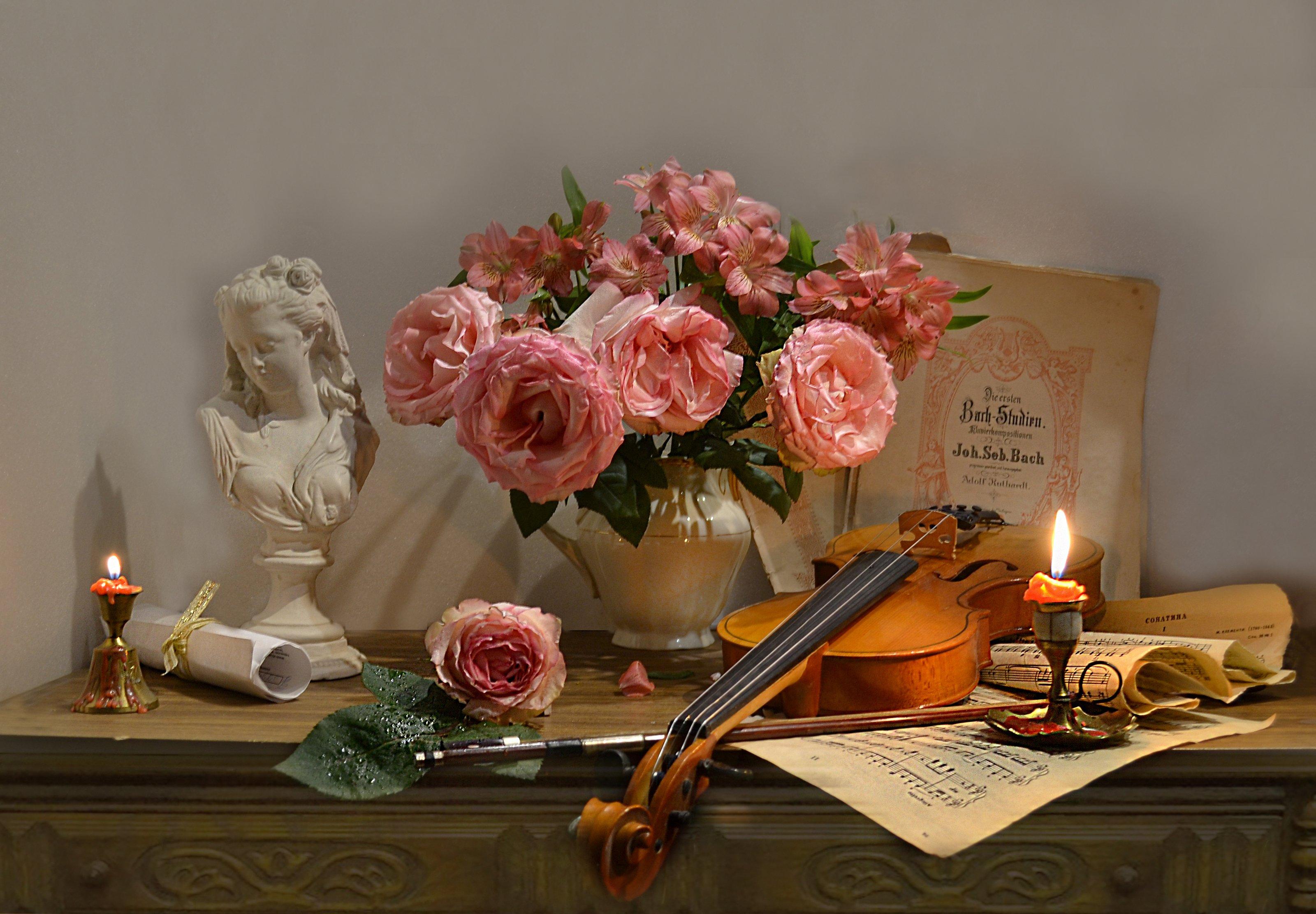 still life, натюрморт, цветы, фото натюрморт, зима, январь, розы, подсвечник, скрипка, ноты,  смычок, свеча, Колова Валентина