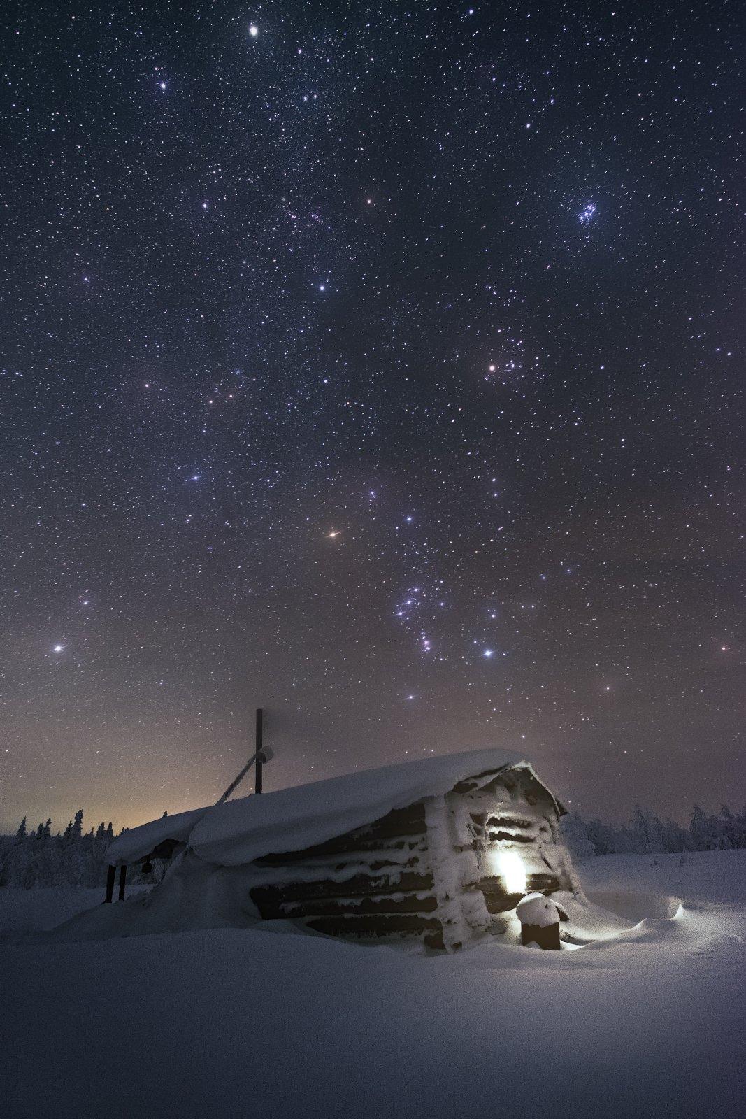 ночь, главный уральский хребет, гух, зима, урал, северный урал, астро, большая медведица, Желтов Глеб