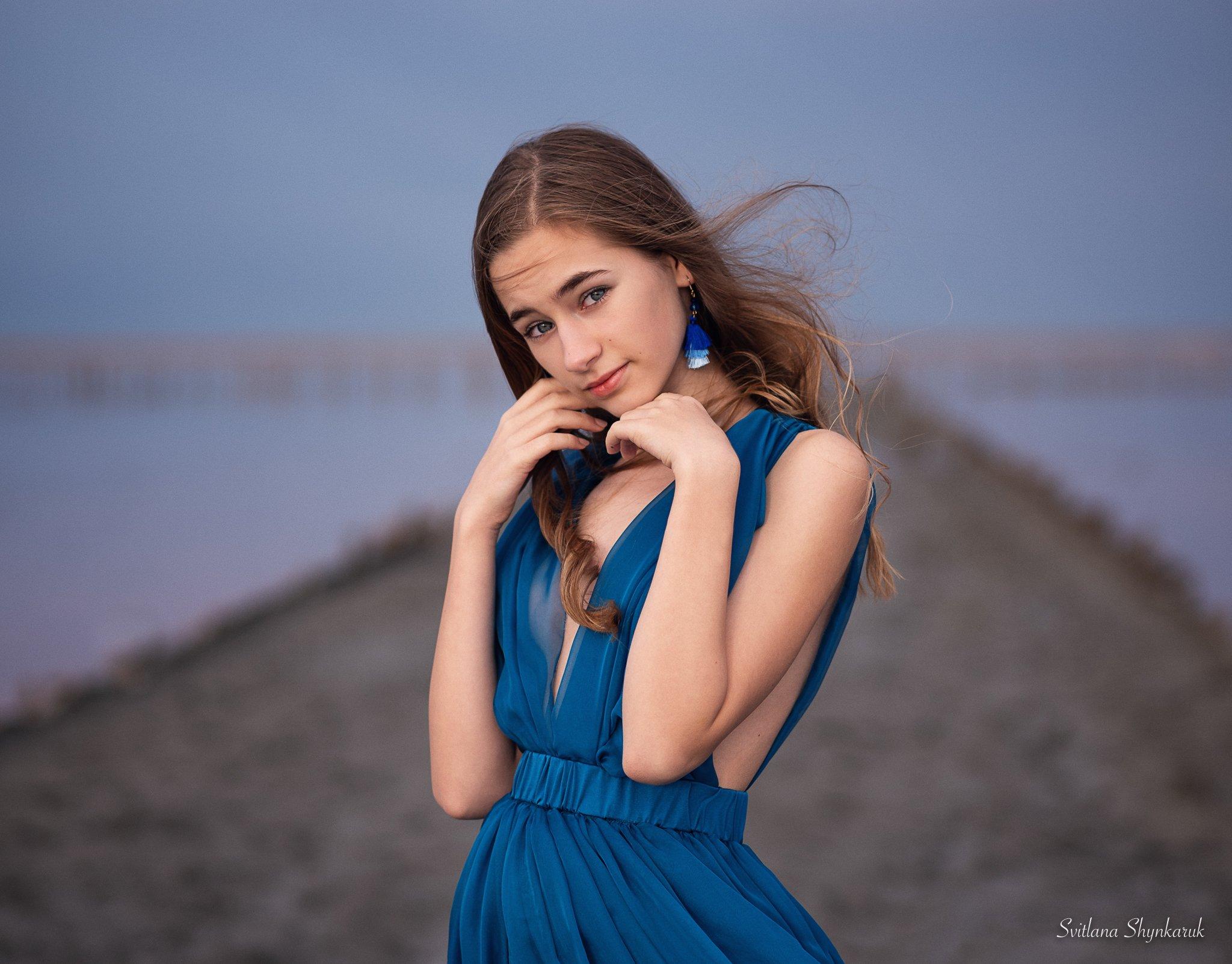 portrait, fragile, natural beauty, female portrait, little girl, blue, Шинкарук Светлана