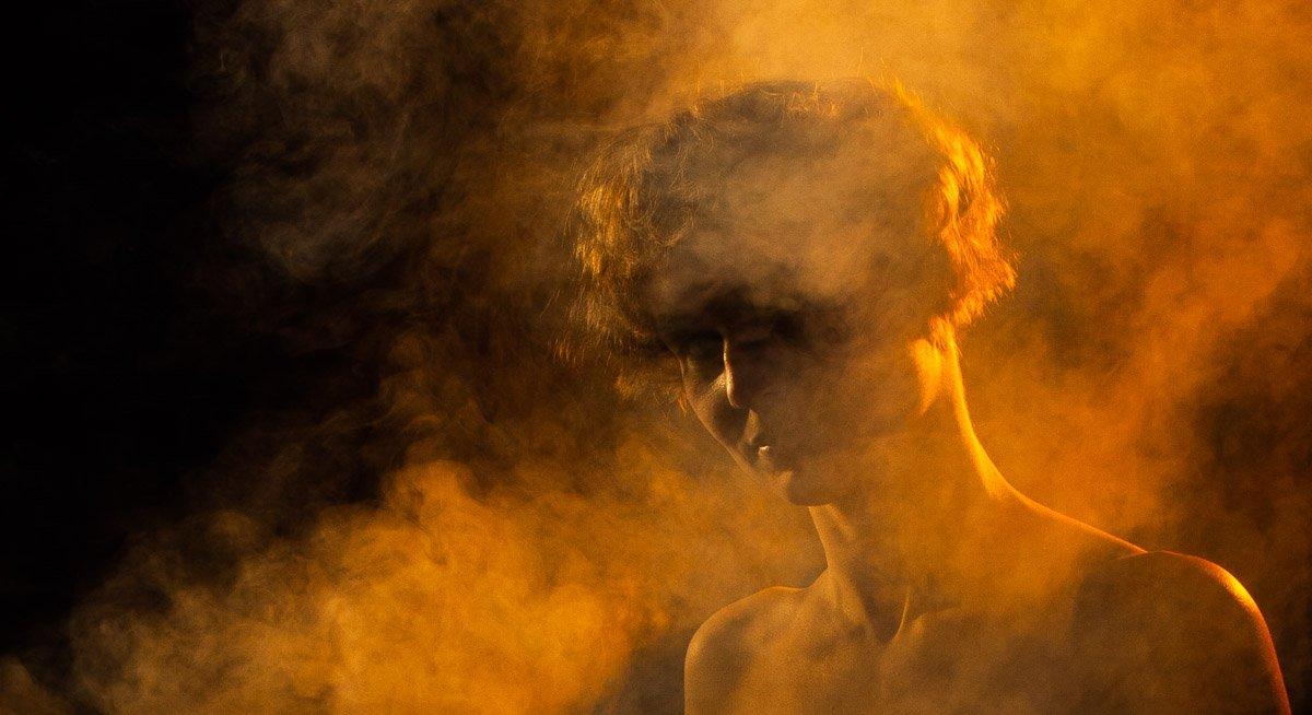 дым, девушка, портрет, цвет, освещение, Сергей Козинцев