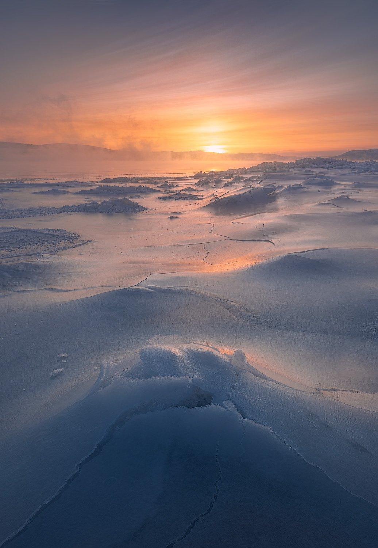 пейзаж, север, кольский, лед, зима, река, Дударев Александр