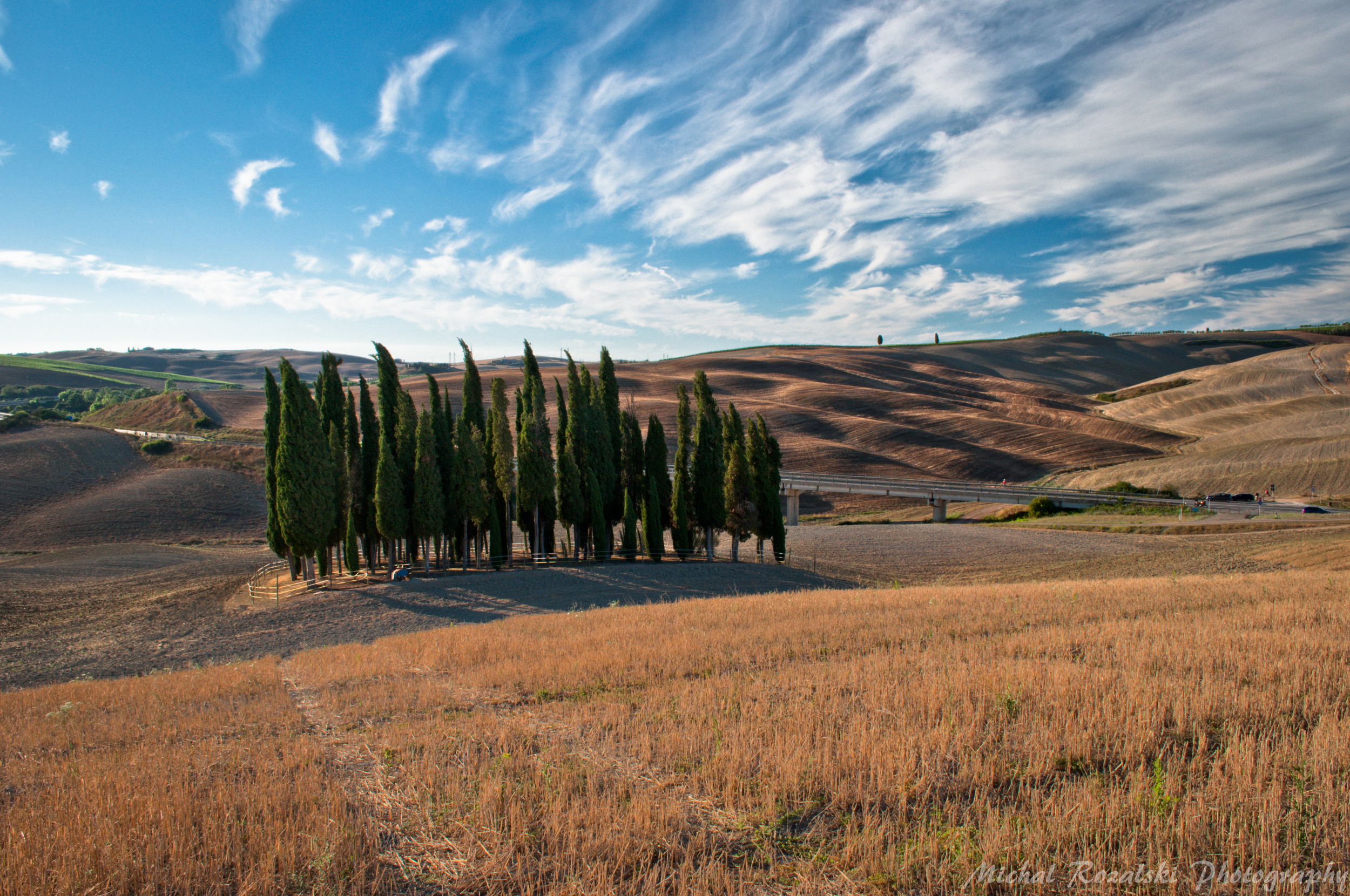 cypresses, ,hills, ,italy, ,tuscany, ,sky, ,clouds, ,harvest, ,summer, ,trees, ,landscapes, Michal Rozalski