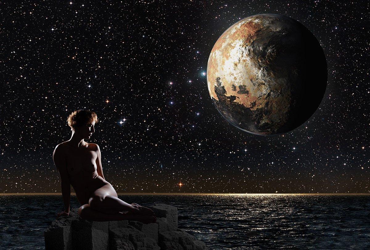 Девушка, Ню, Плутон, море, звезды, скала, Сергей Козинцев