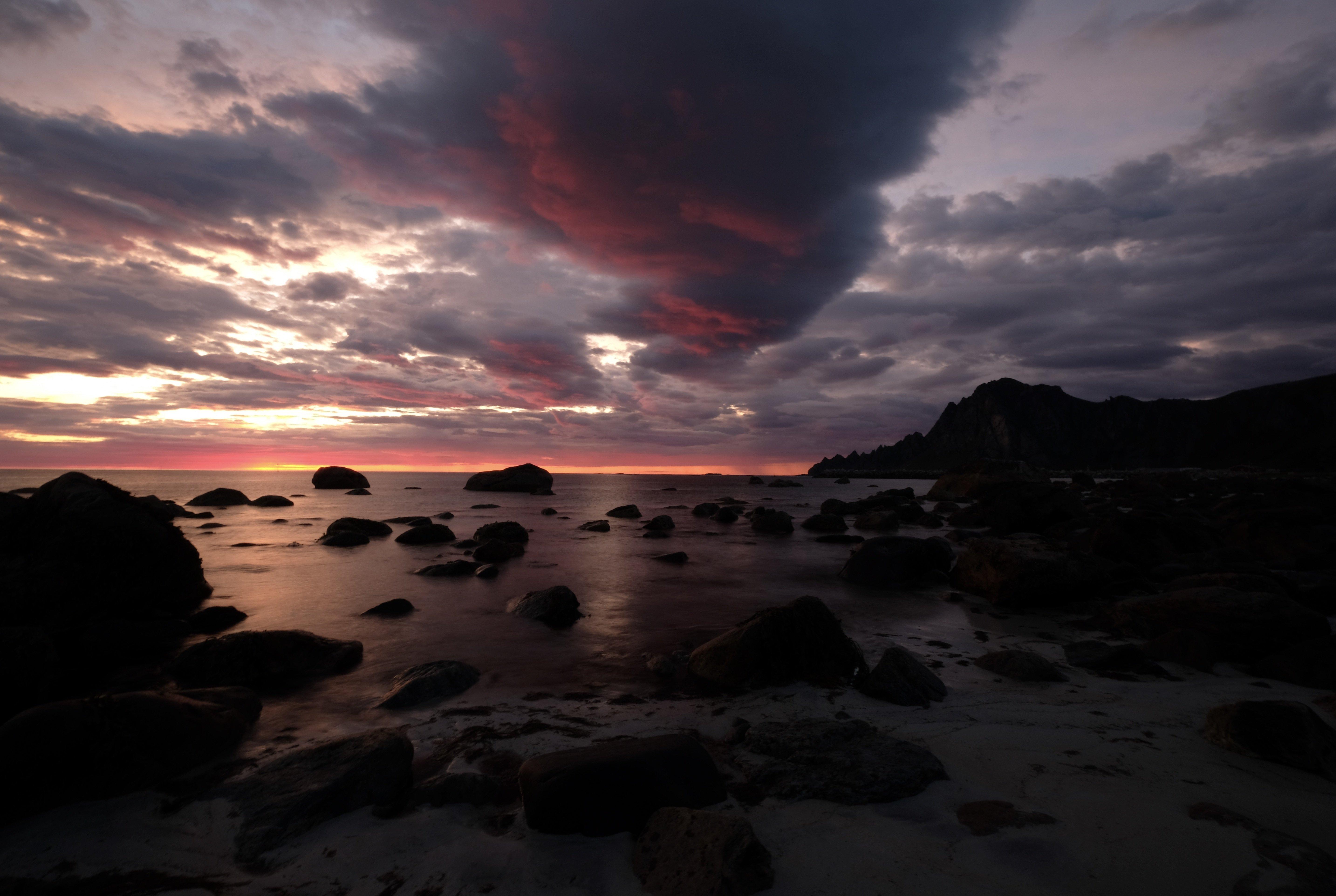 Landscapes, nature, Norway, sunset, colors, sky, clouds, rocks, mountain, Andøya, island, sea, Atlantic sea,, Povarova Ree Svetlana