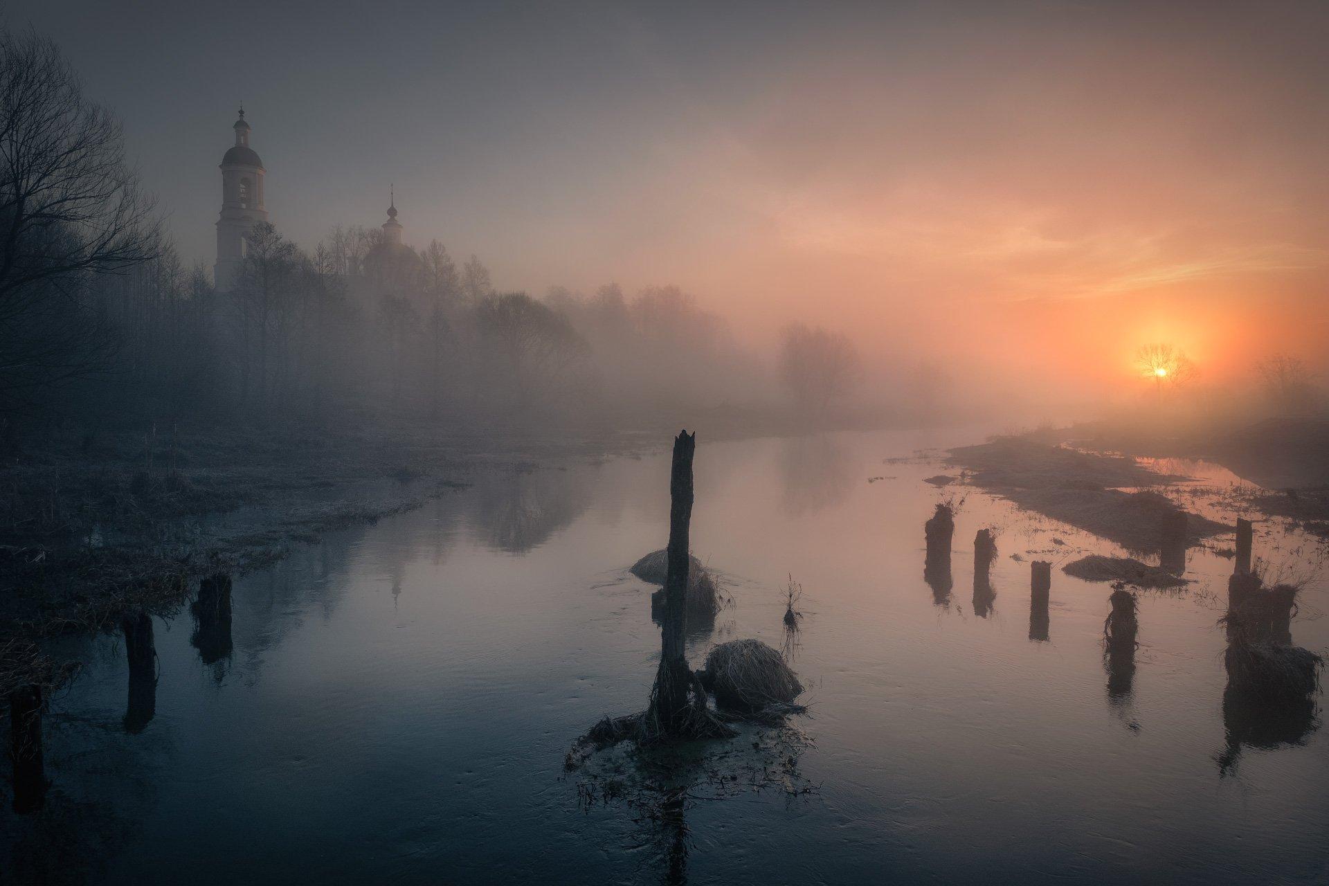 река, шерна, утро, туман, рассвет, вода, монастырь, солнце, Андрей Чиж