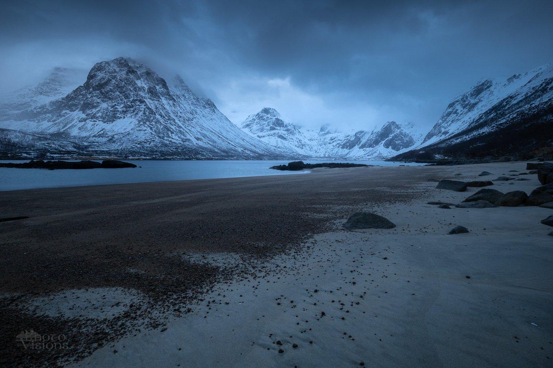 nature,norway,mountains,sea,beach,blue hour,winter,moody, Szatewicz Adrian