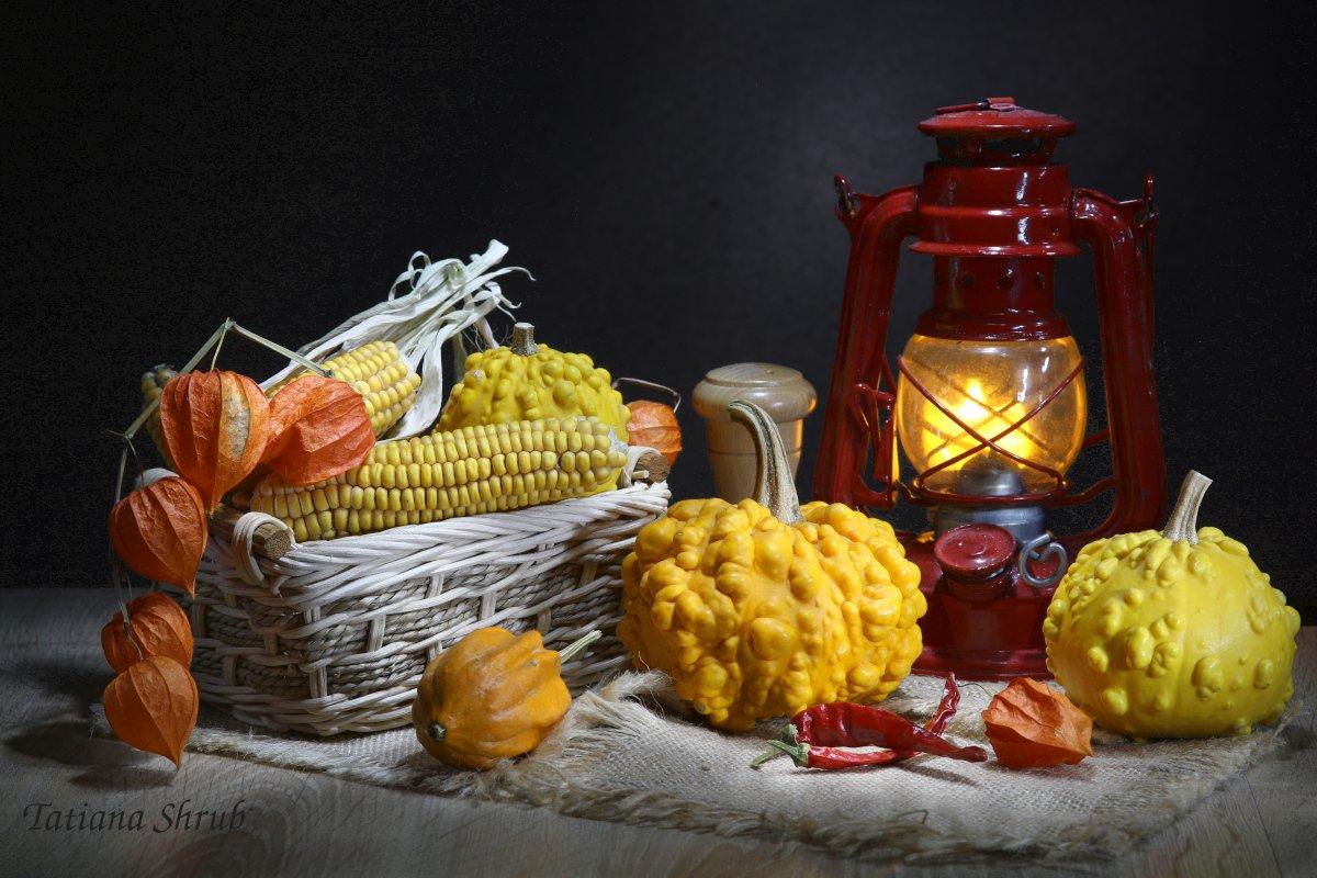 овощи, тыквы, декоративные, корзинка, лампа, Шруб (Беляева) Татьяна