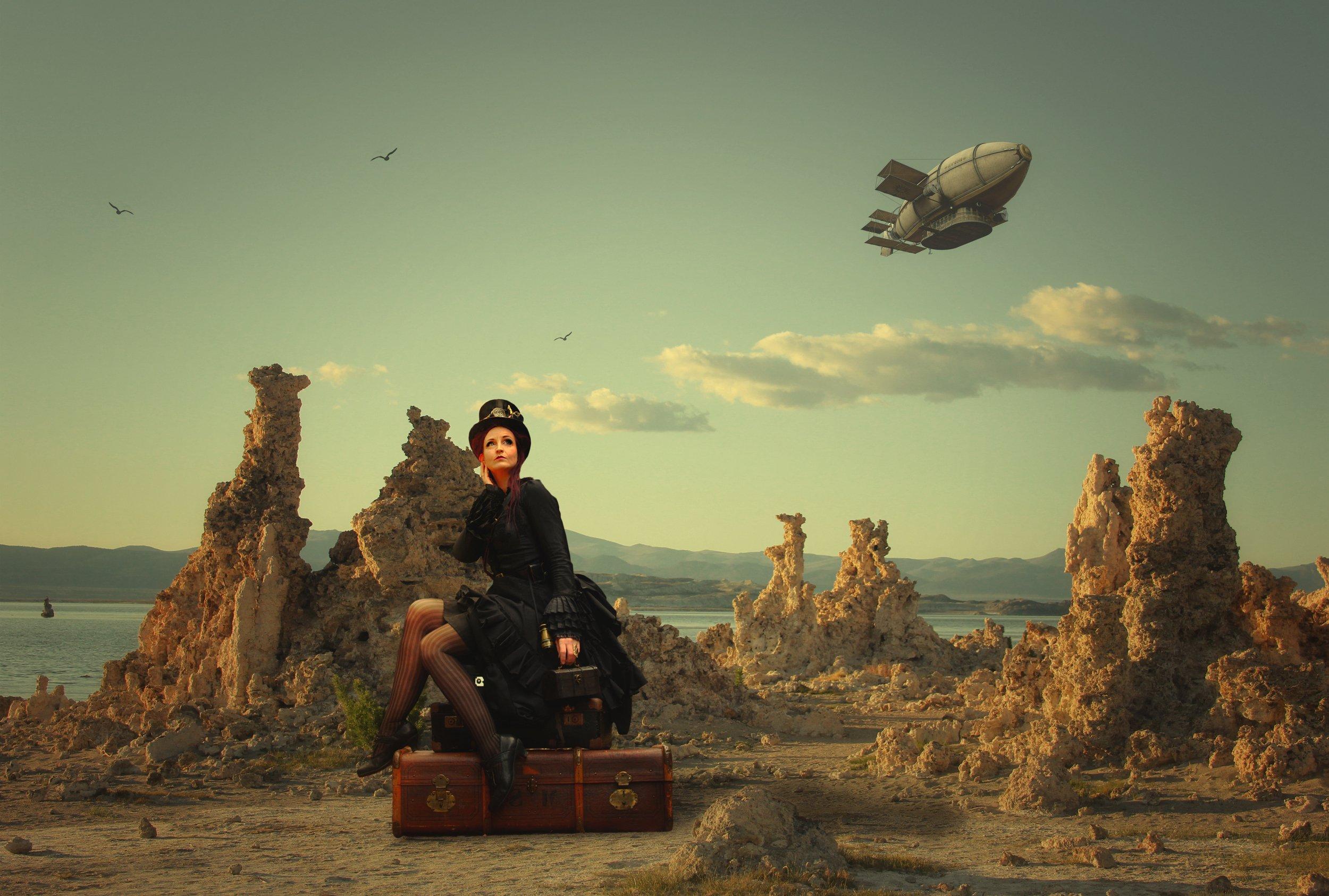 дирижабль, девушка, чемоданы, облака, Sergii Vidov
