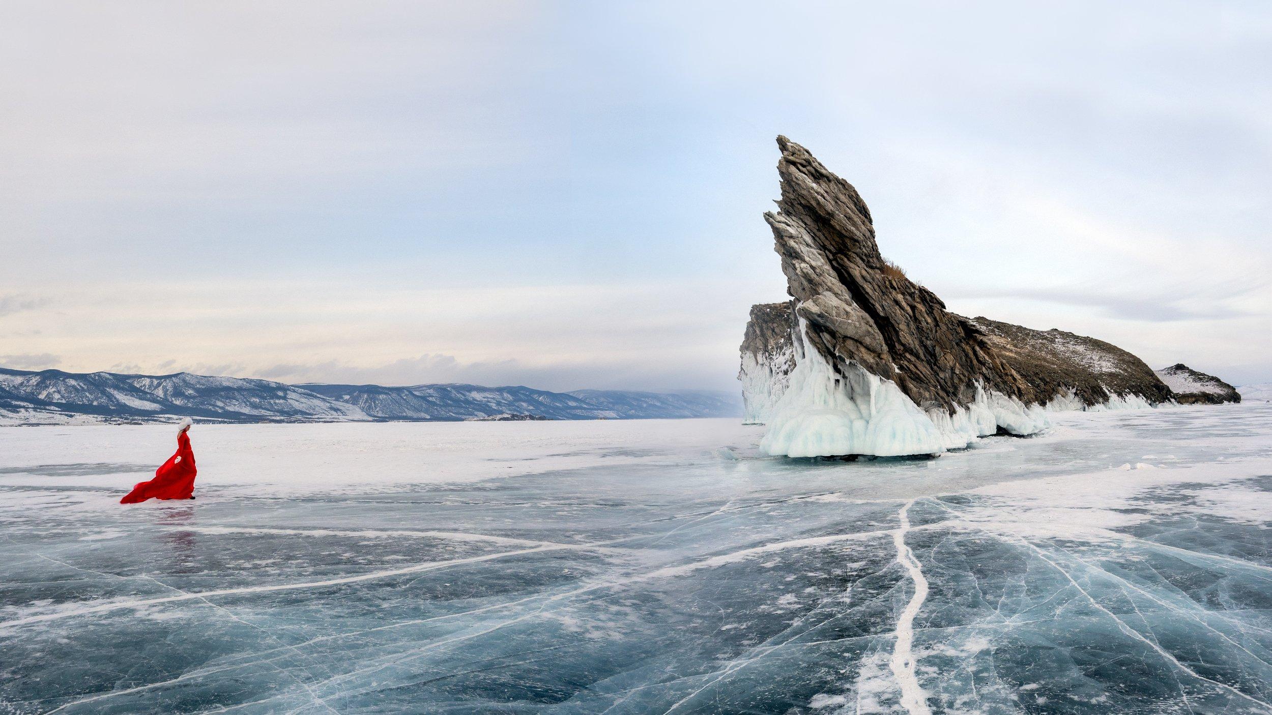 Лед, Байкал, красное, Михаил