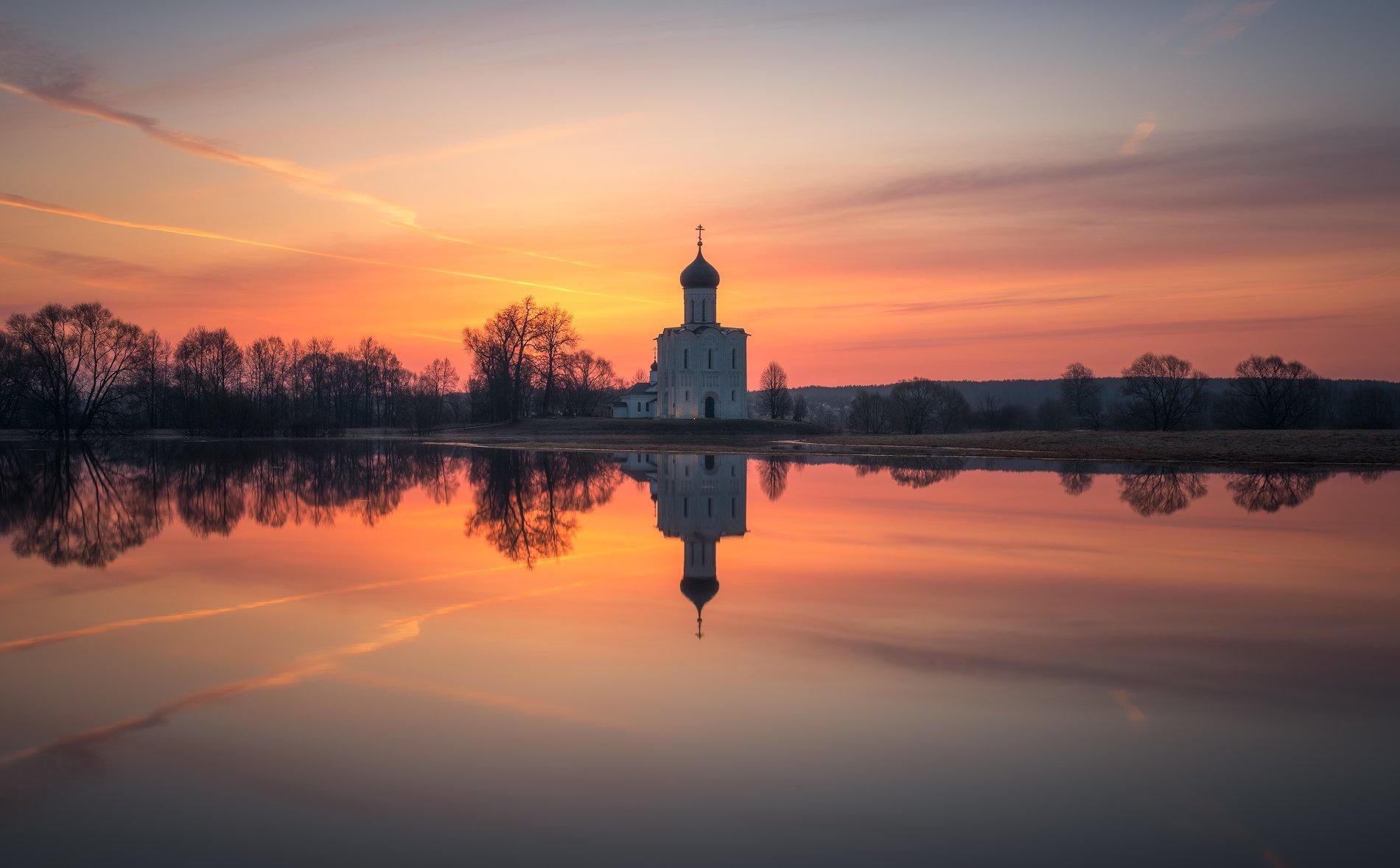рассвет, боголюбово, разлив, пейзаж, Левыкин Виталий