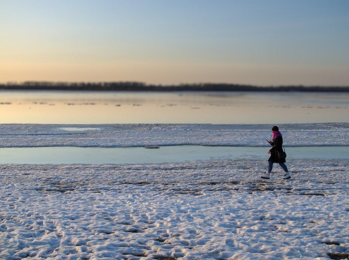 волга, река, весна, лед, самара, закат, Андрей Ларионов