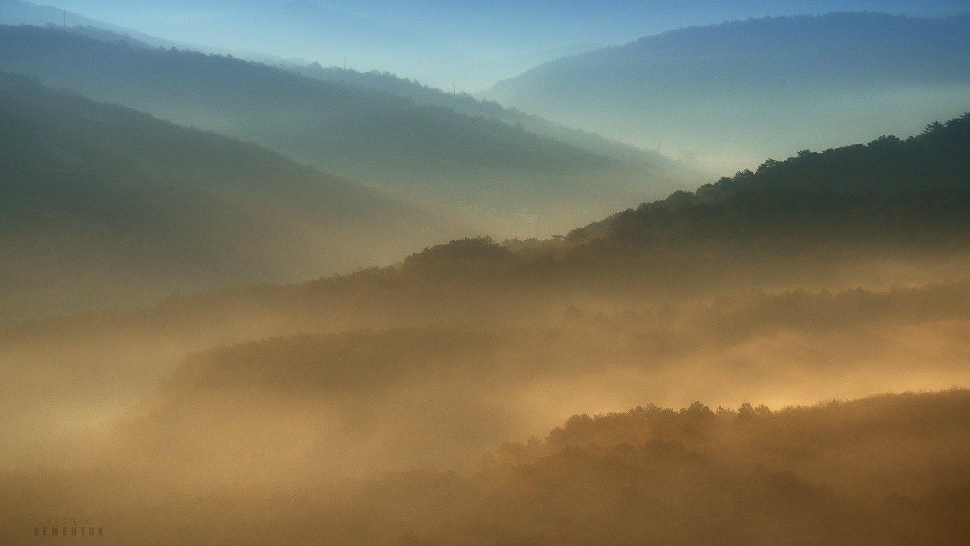 крым, весна, рассвет, горы, туман, кача, mountain, minimalism, dawn, myst, fog, crimea., Семенюк Василий