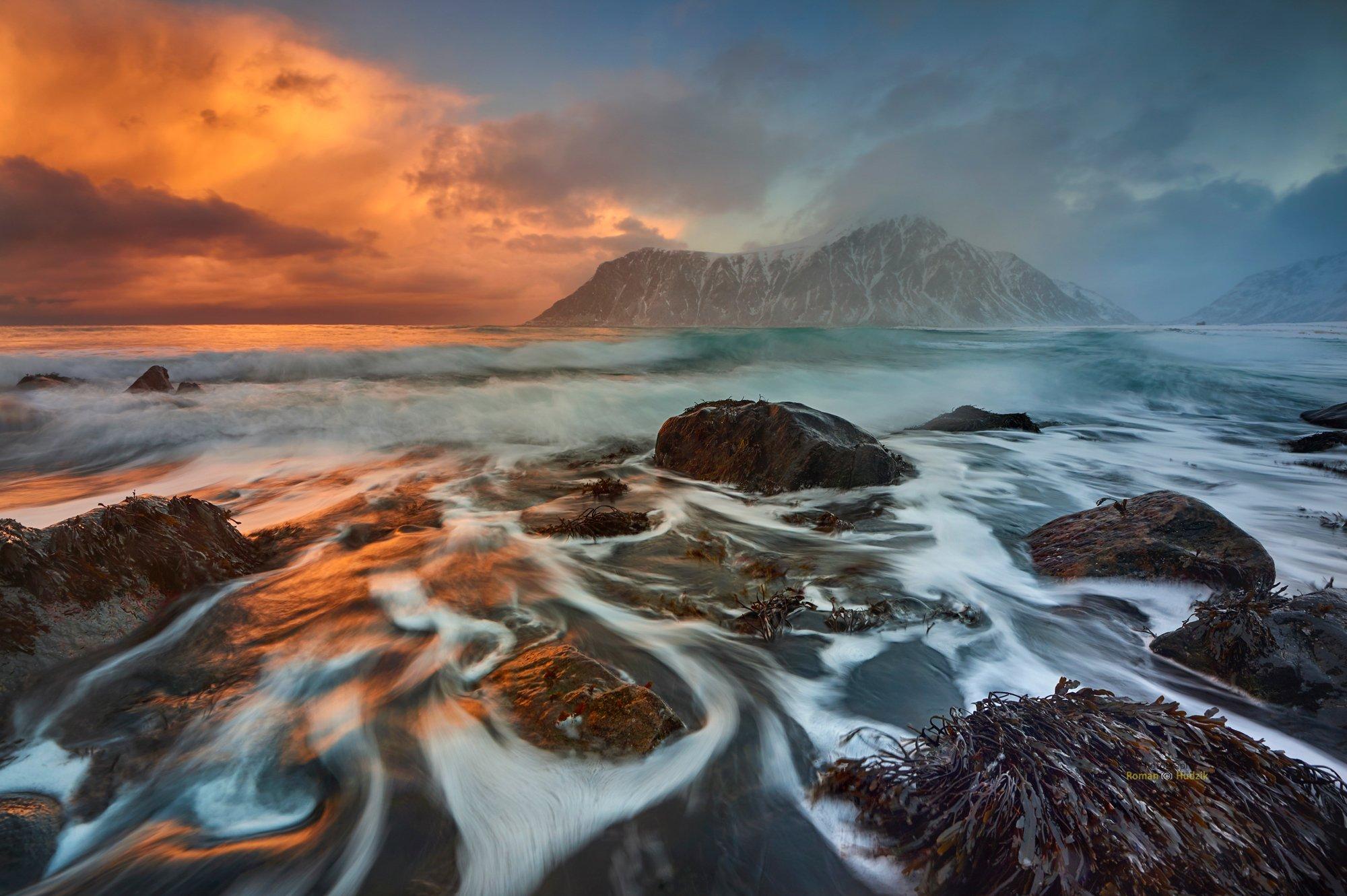 Lofoten, sunrise, Norway, sea, landscape, water, stones, clouds, beautiful views,, Hudzik Roman