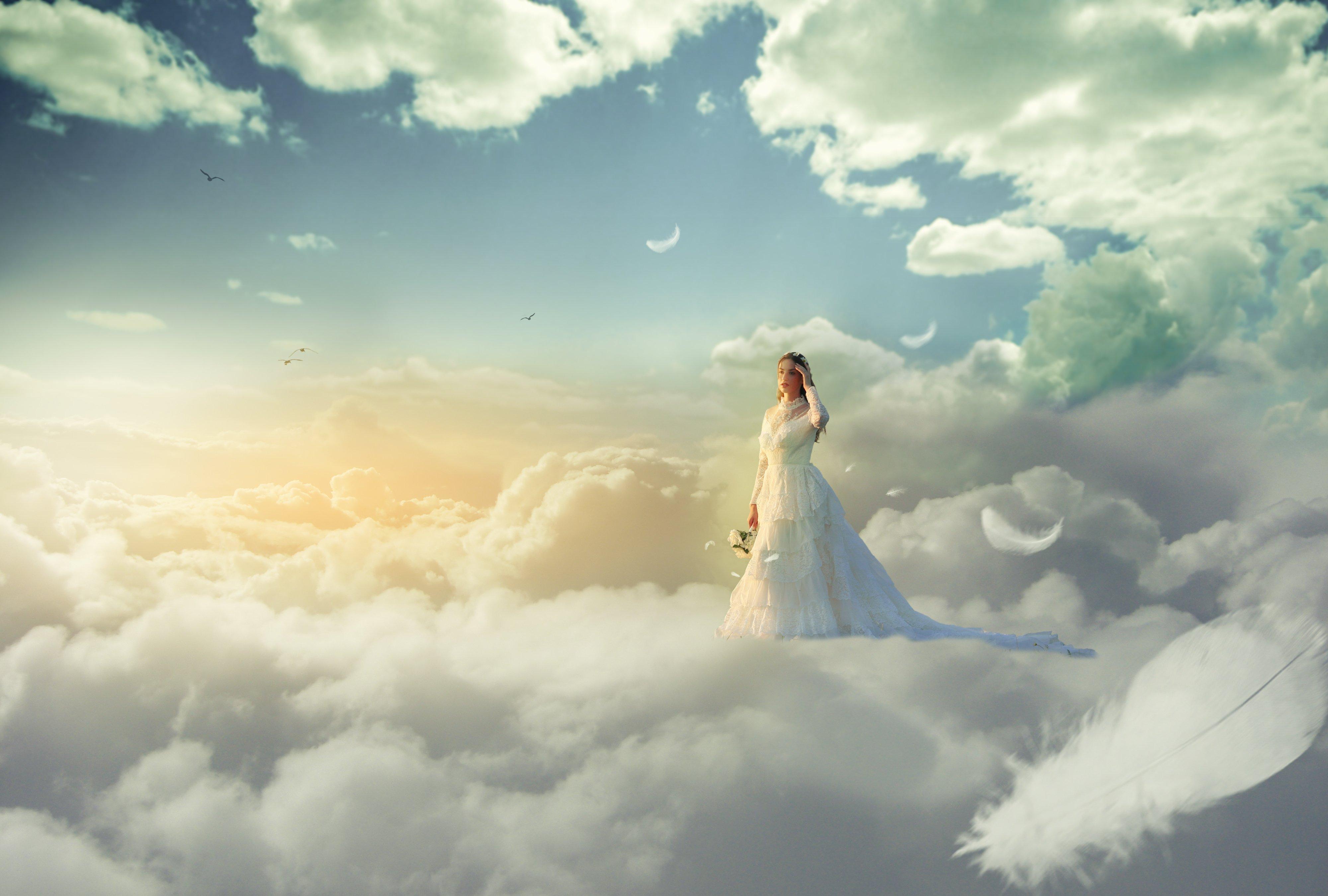 девушка, облака, Sergii Vidov