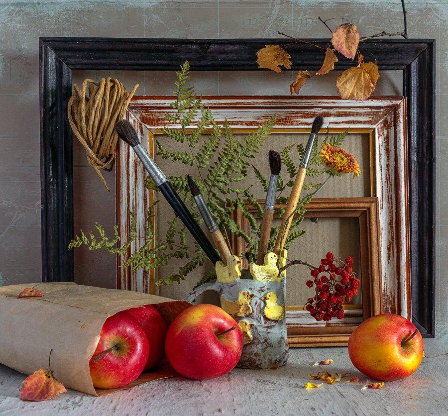 still life, натюрморт,    винтаж,  ретро, яблоки, еда, спелый, кисточки, рамы для картин,, Шерман Михаил