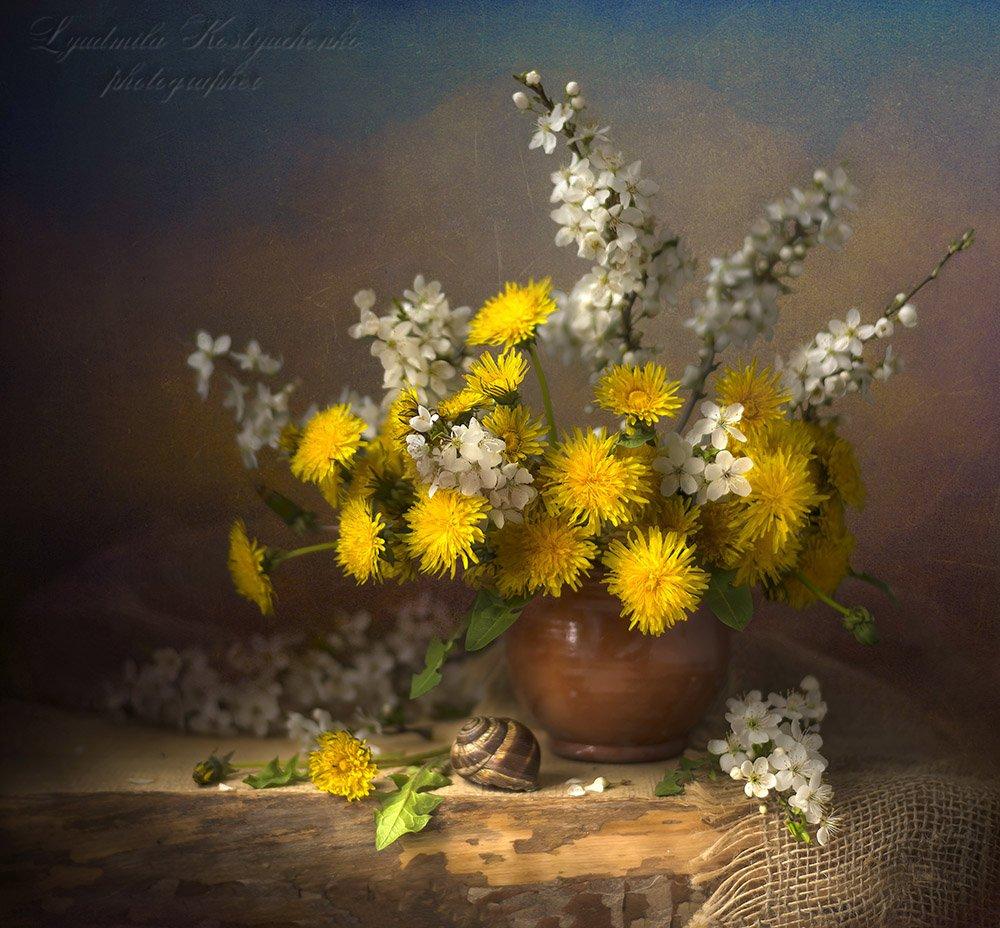 художественное фото,натюрморт,букет с цветами,одуванчики., Костюченко Людмила