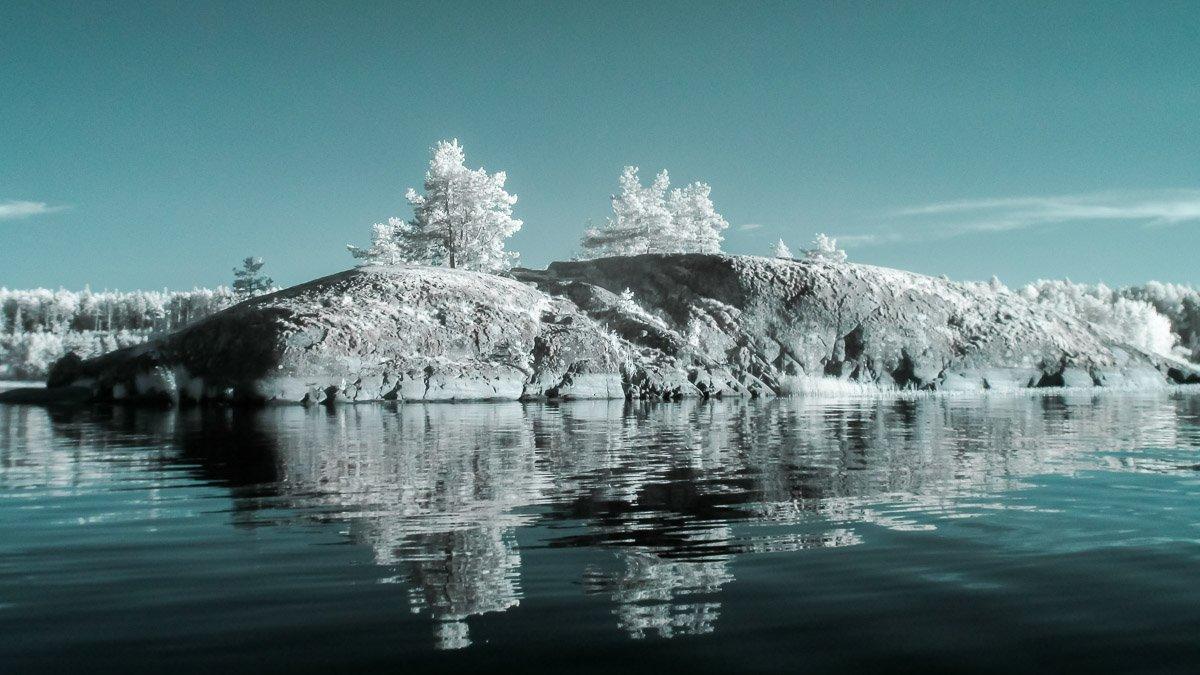 Ладога, Инфракрасное фото, ладожское озеро, ir, вода, остров, небо, Сергей Козинцев