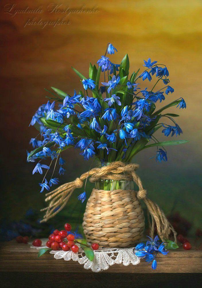 художественное фото,натюрморт,букет с цветами,пролески,калина.., Костюченко Людмила