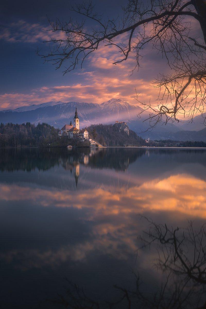 bled, slovenija, slovenia, landscape, sunrise,clouds, sky, reflection, lake, church , Roberto Pavic
